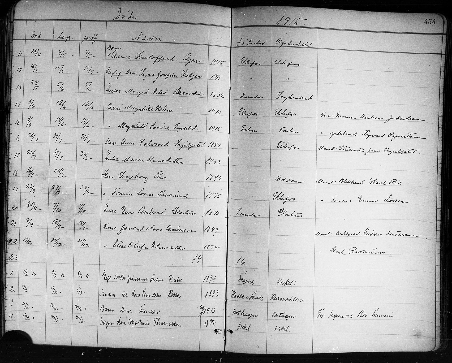 SAKO, Holla kirkebøker, G/Ga/L0005: Klokkerbok nr. I 5, 1891-1917, s. 454