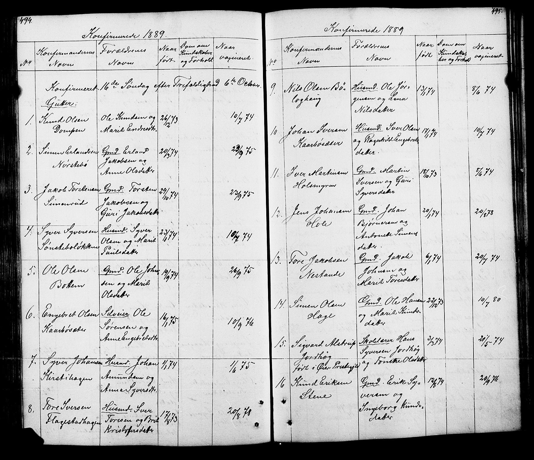 SAH, Lesja prestekontor, Klokkerbok nr. 5, 1850-1894, s. 494-495