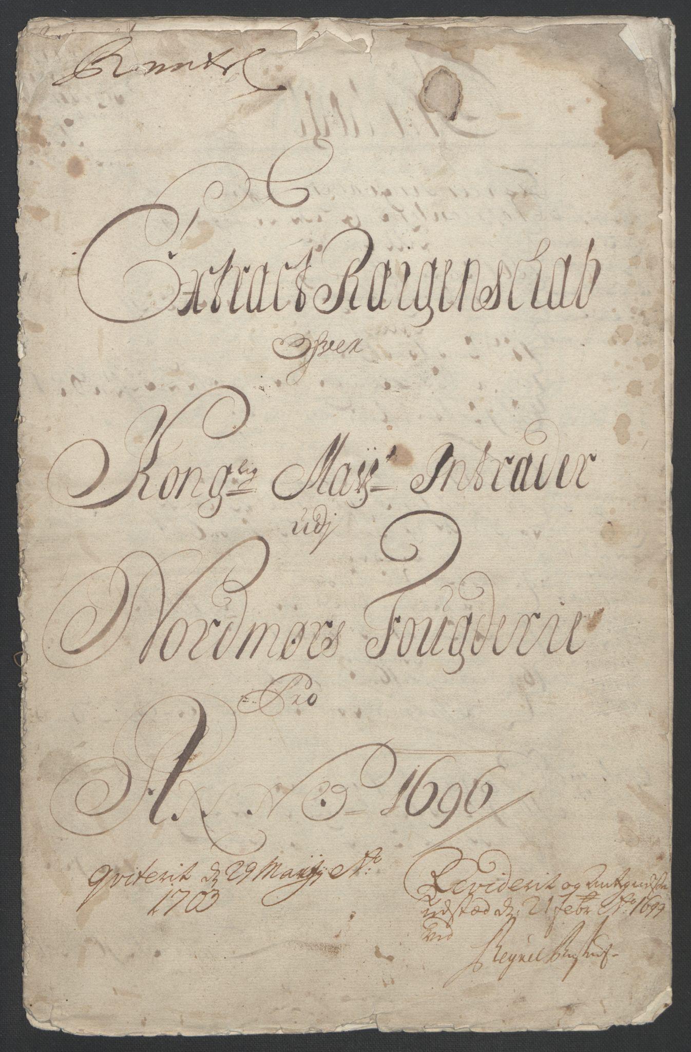 RA, Rentekammeret inntil 1814, Reviderte regnskaper, Fogderegnskap, R56/L3736: Fogderegnskap Nordmøre, 1694-1696, s. 338