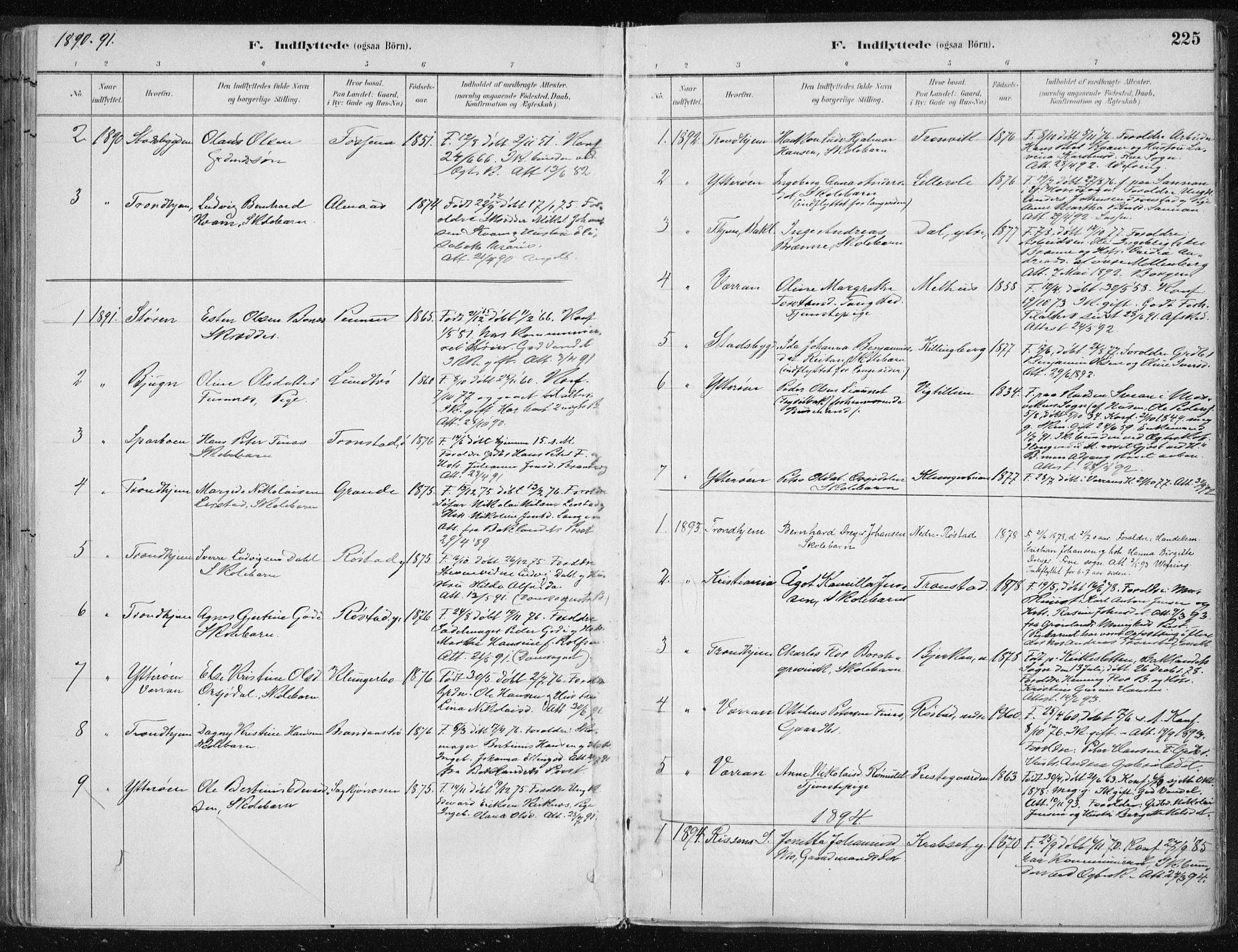 SAT, Ministerialprotokoller, klokkerbøker og fødselsregistre - Nord-Trøndelag, 701/L0010: Ministerialbok nr. 701A10, 1883-1899, s. 225