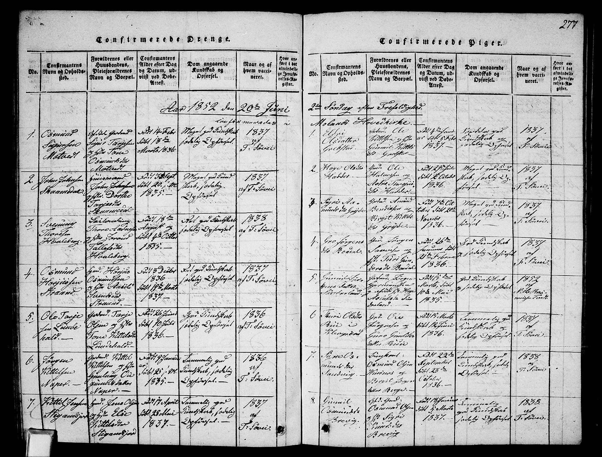 SAKO, Fyresdal kirkebøker, G/Ga/L0002: Klokkerbok nr. I 2, 1815-1857, s. 277