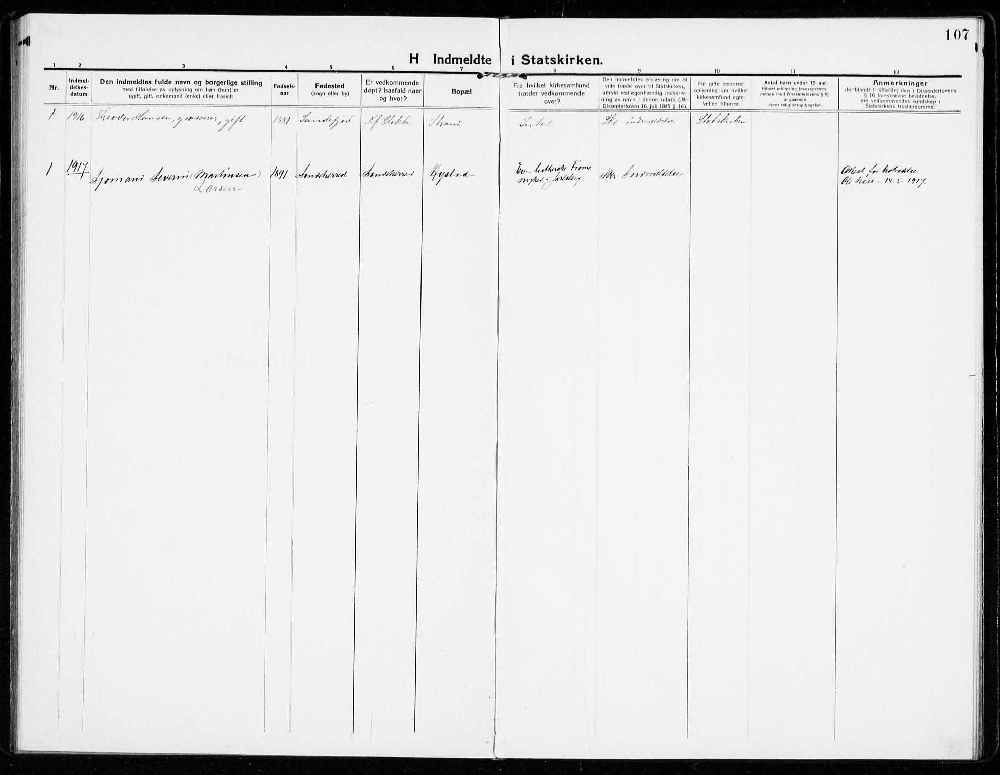SAKO, Sandar kirkebøker, F/Fa/L0020: Ministerialbok nr. 20, 1915-1919, s. 107