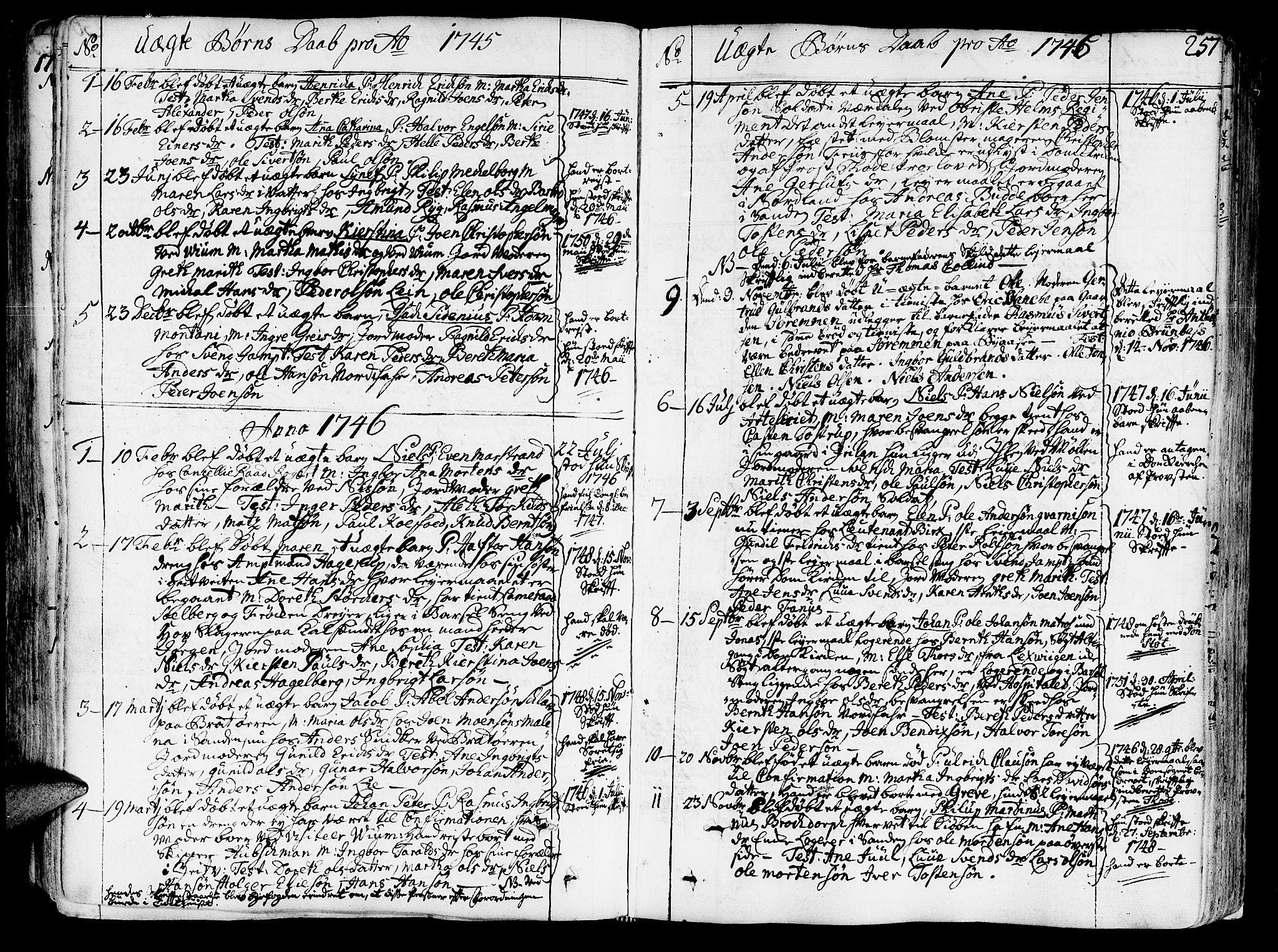 SAT, Ministerialprotokoller, klokkerbøker og fødselsregistre - Sør-Trøndelag, 602/L0103: Ministerialbok nr. 602A01, 1732-1774, s. 257
