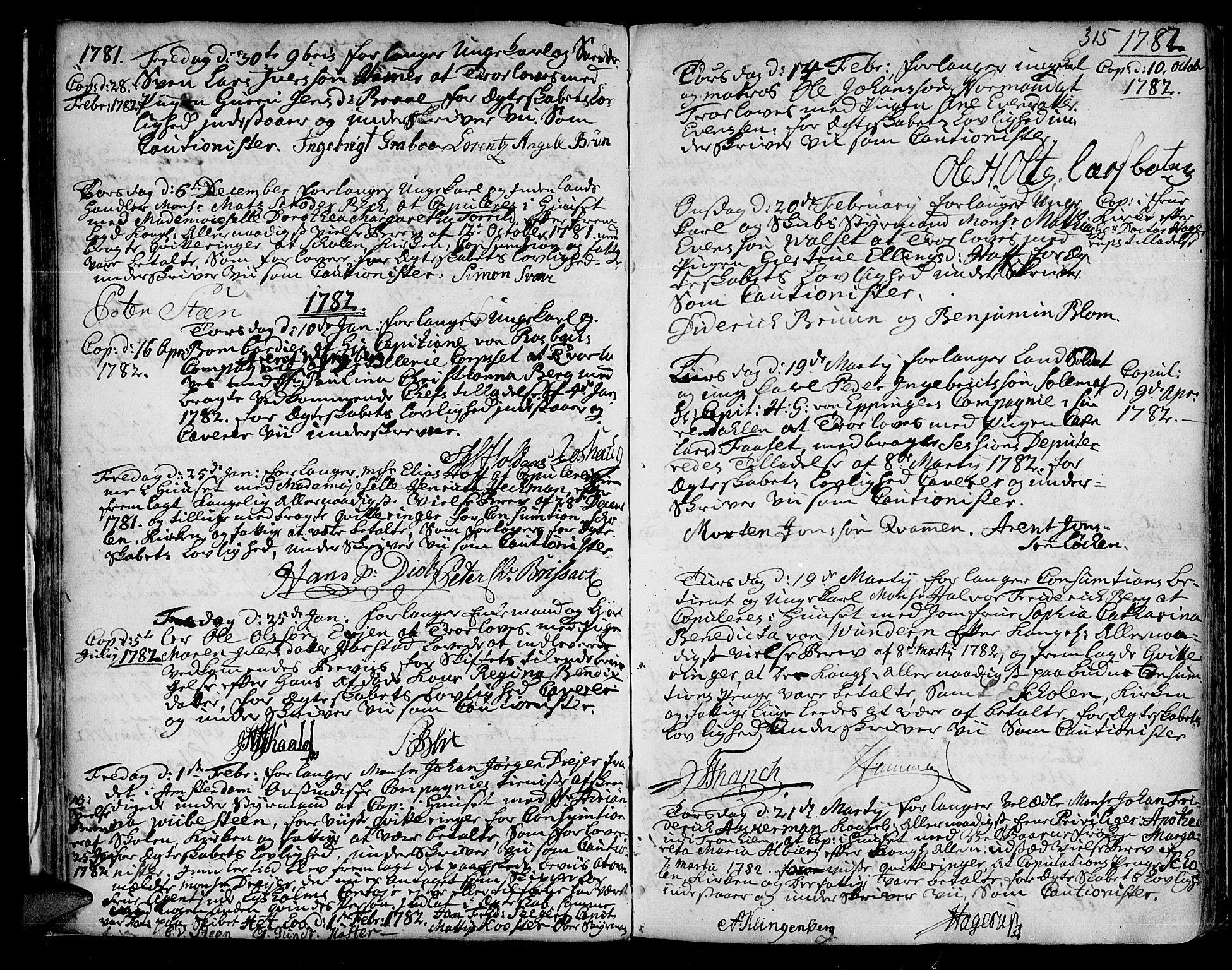 SAT, Ministerialprotokoller, klokkerbøker og fødselsregistre - Sør-Trøndelag, 601/L0038: Ministerialbok nr. 601A06, 1766-1877, s. 315