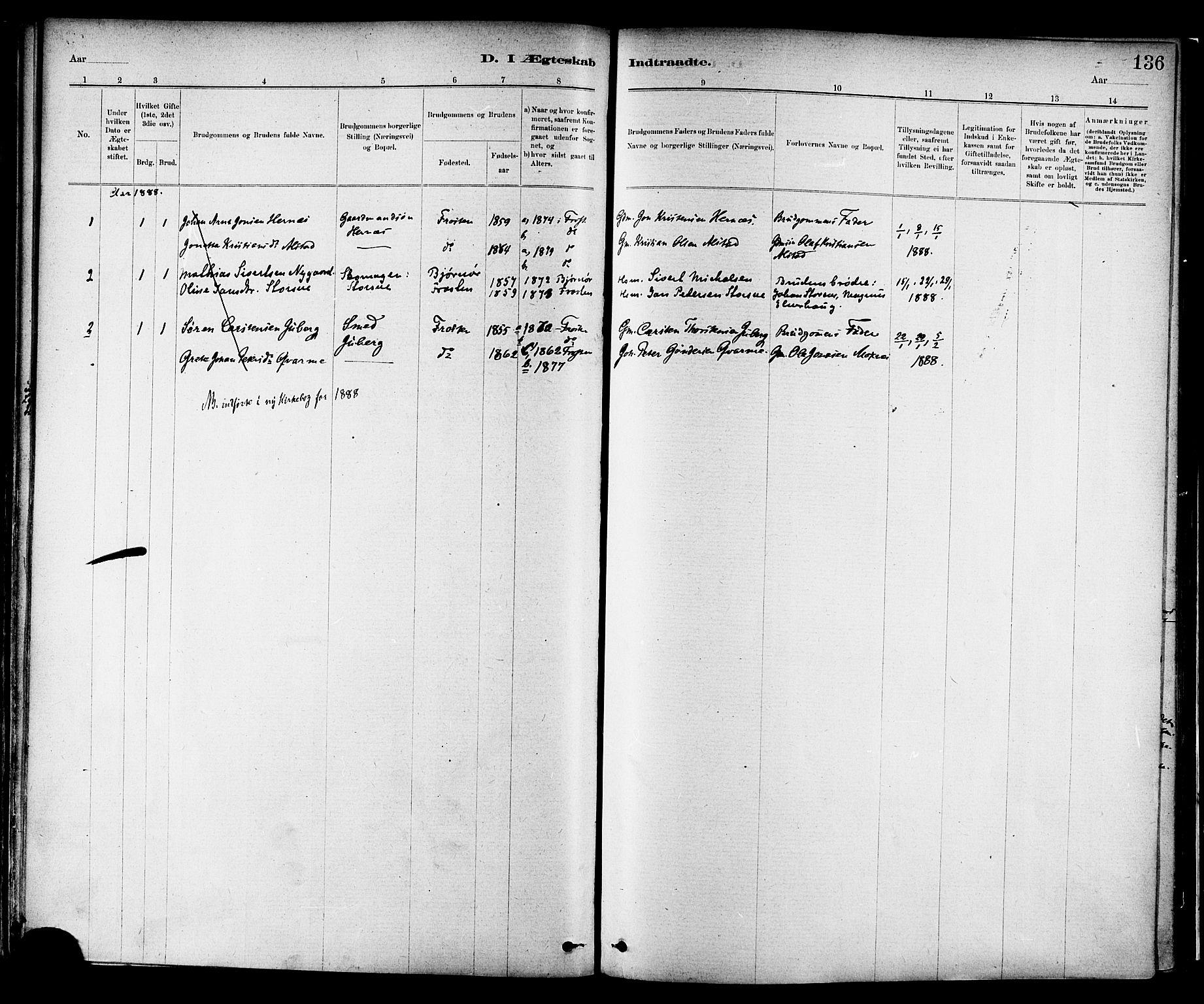 SAT, Ministerialprotokoller, klokkerbøker og fødselsregistre - Nord-Trøndelag, 713/L0120: Ministerialbok nr. 713A09, 1878-1887, s. 136