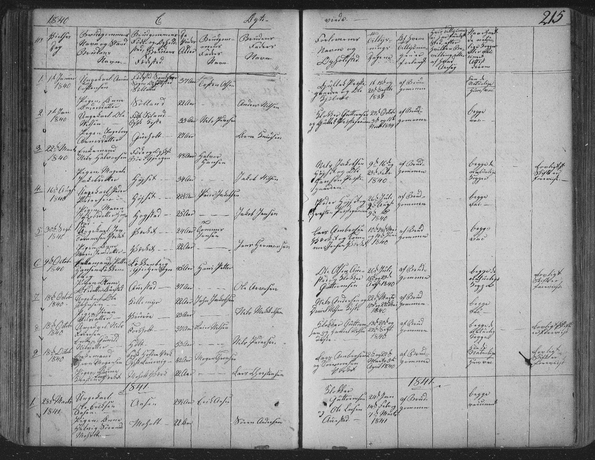 SAKO, Siljan kirkebøker, F/Fa/L0001: Ministerialbok nr. 1, 1831-1870, s. 215