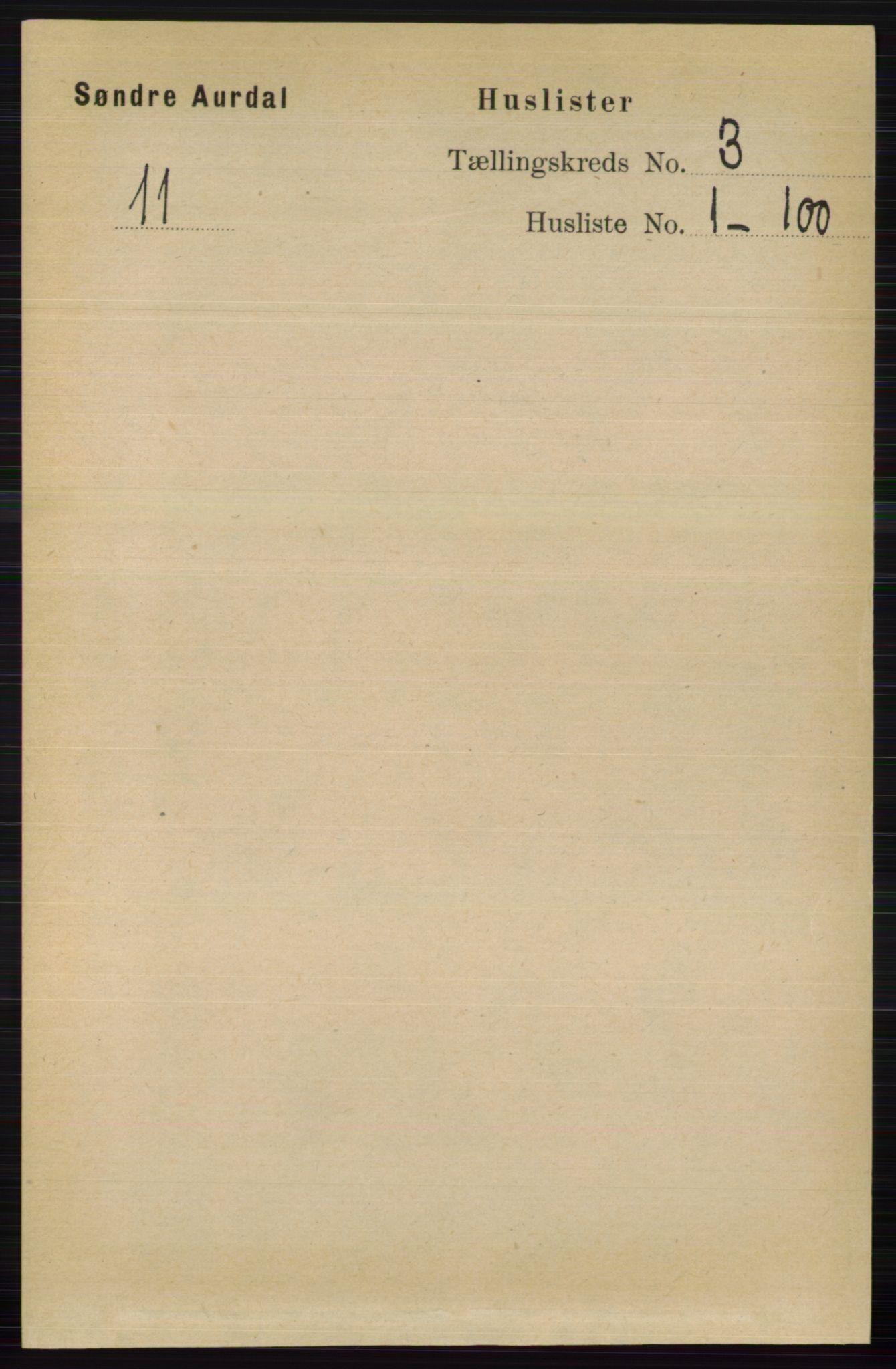 RA, Folketelling 1891 for 0540 Sør-Aurdal herred, 1891, s. 1566