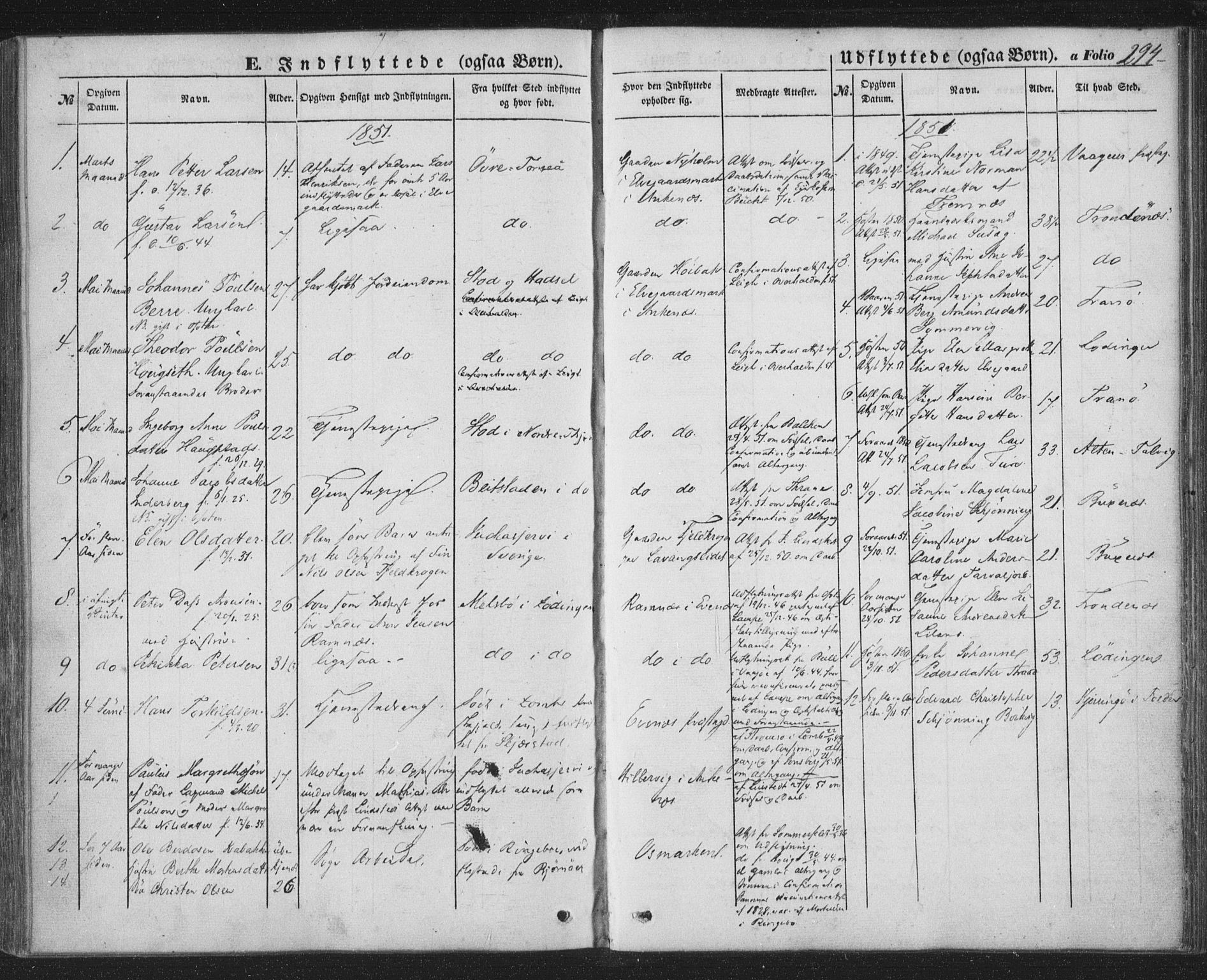 SAT, Ministerialprotokoller, klokkerbøker og fødselsregistre - Nordland, 863/L0895: Ministerialbok nr. 863A07, 1851-1860, s. 294