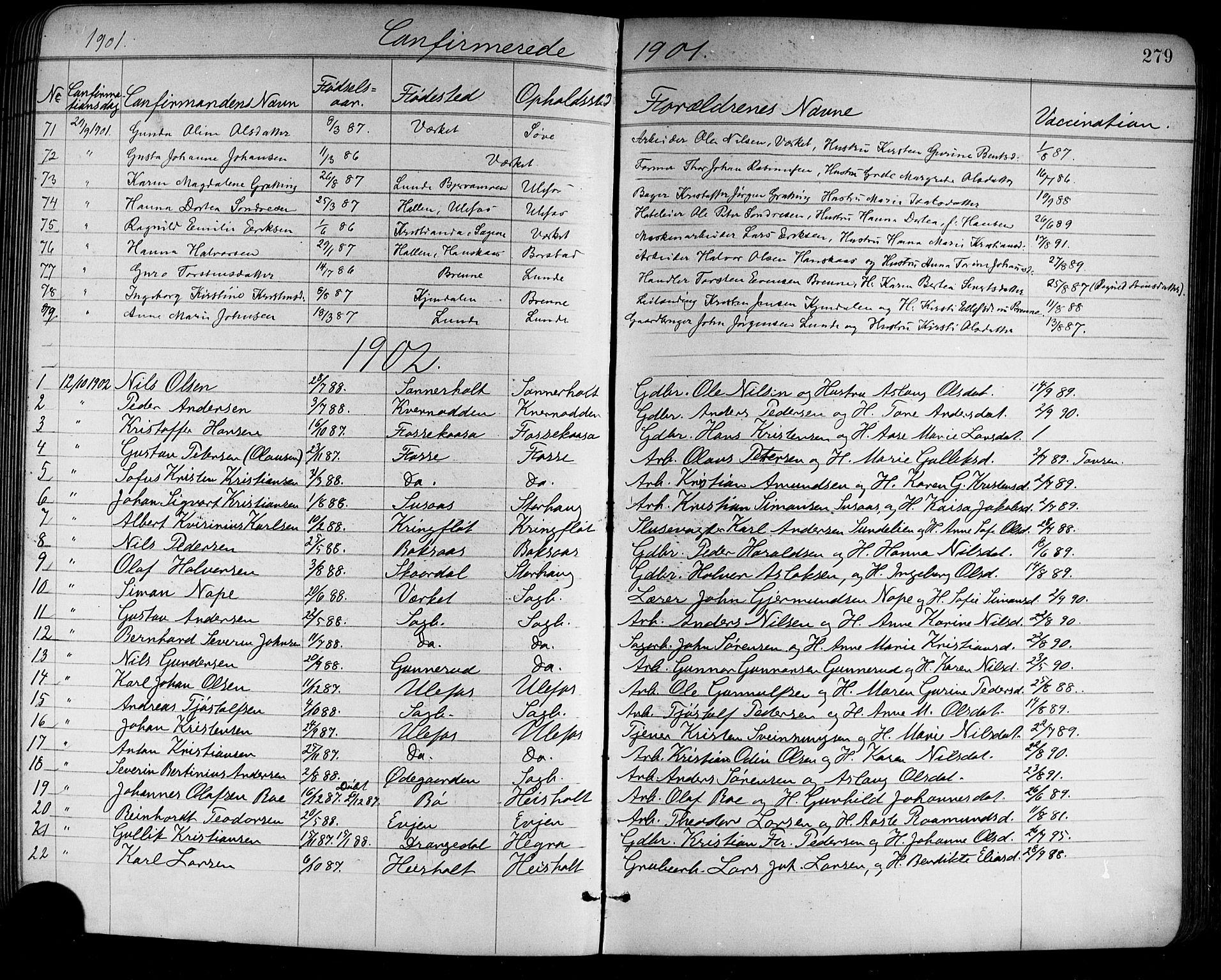 SAKO, Holla kirkebøker, G/Ga/L0005: Klokkerbok nr. I 5, 1891-1917, s. 279