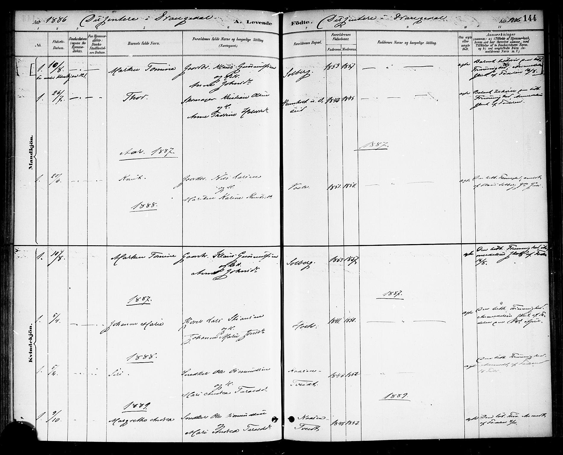 SAKO, Drangedal kirkebøker, F/Fa/L0010: Ministerialbok nr. 10 /1, 1885-1894, s. 144