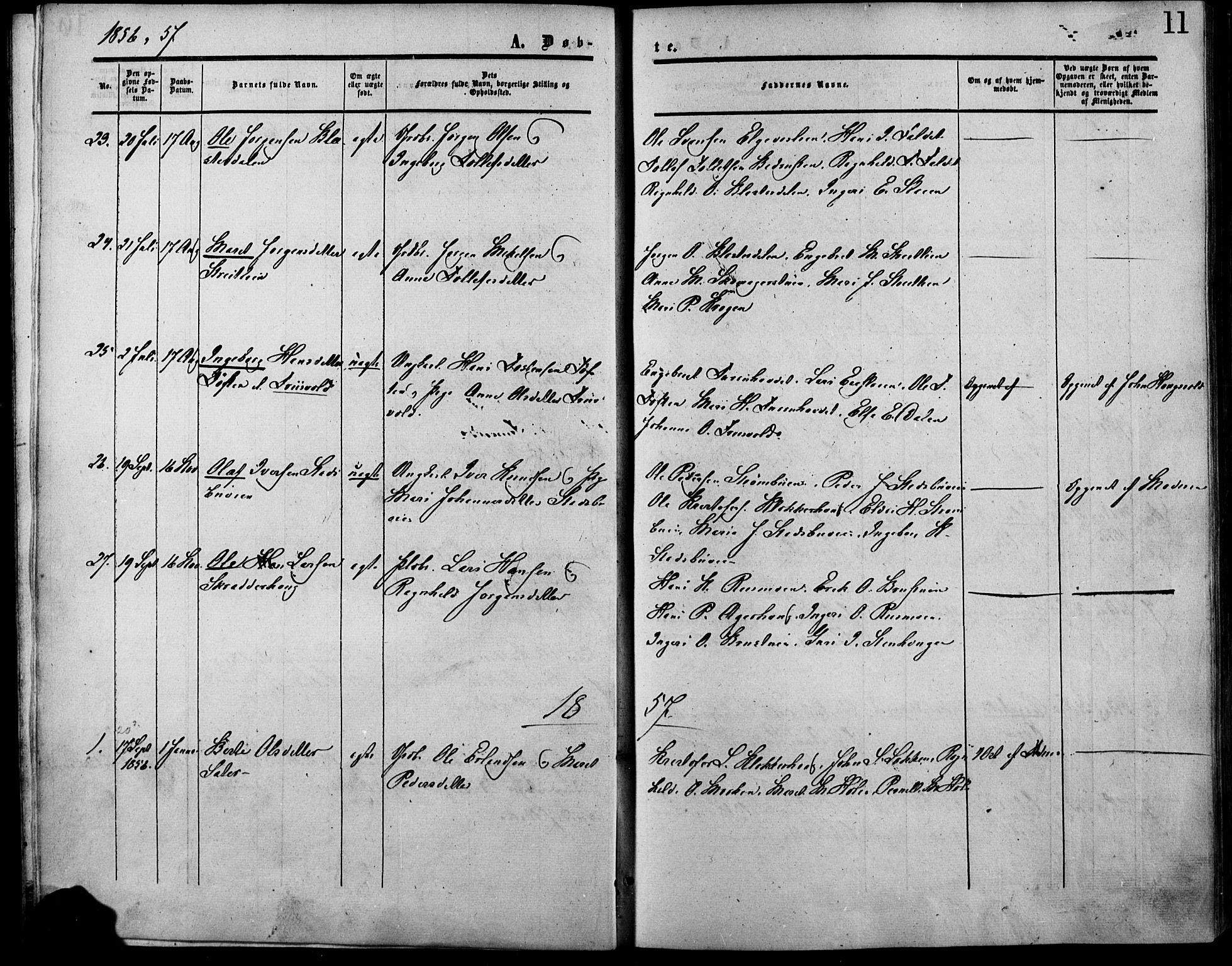 SAH, Lesja prestekontor, Ministerialbok nr. 7, 1854-1862, s. 11
