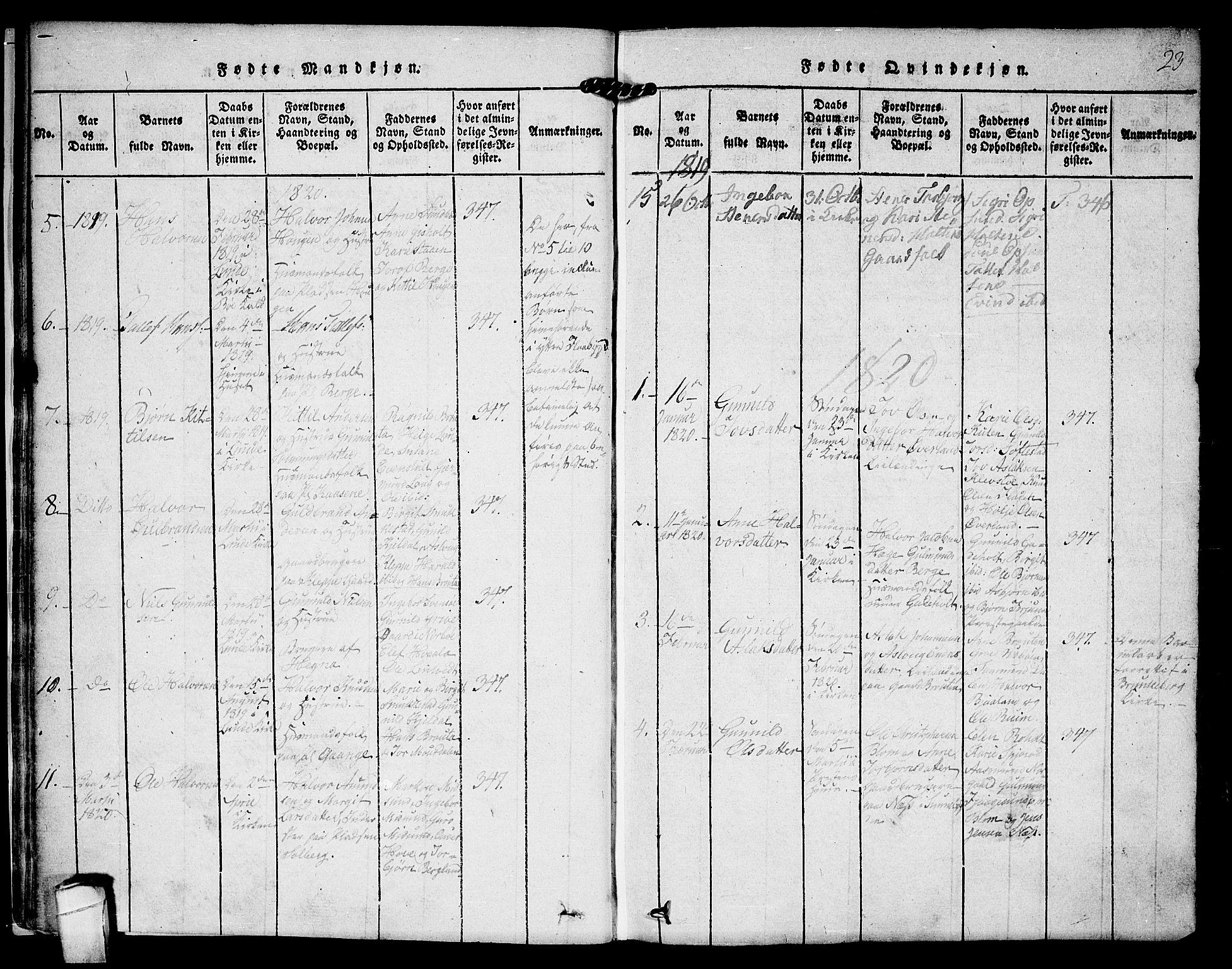 SAKO, Kviteseid kirkebøker, F/Fa/L0005: Ministerialbok nr. I 5, 1815-1836, s. 23