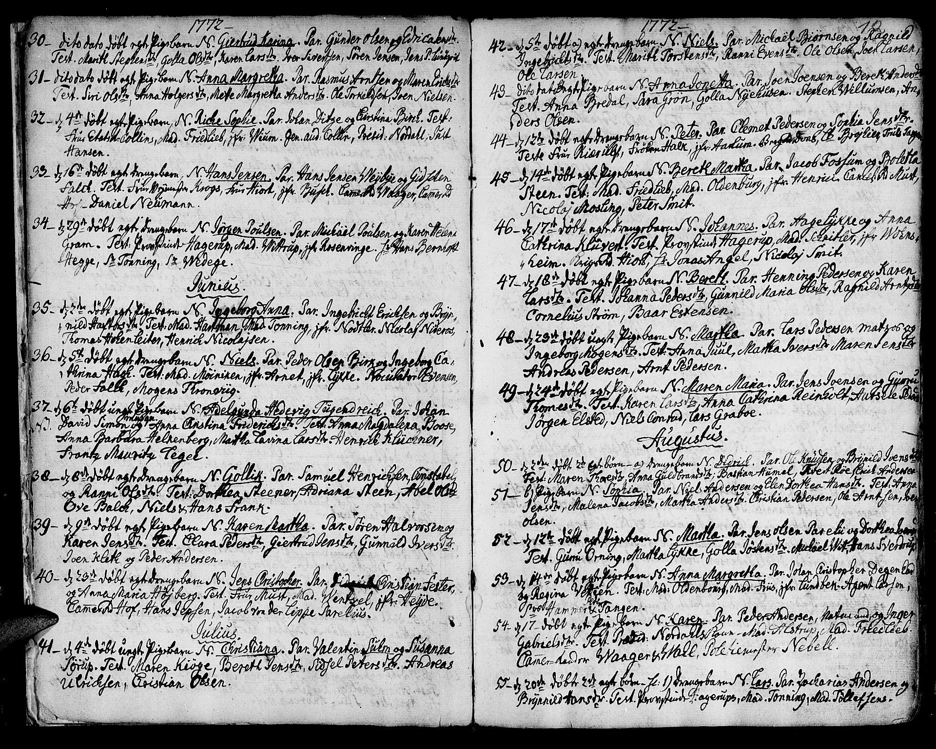 SAT, Ministerialprotokoller, klokkerbøker og fødselsregistre - Sør-Trøndelag, 601/L0039: Ministerialbok nr. 601A07, 1770-1819, s. 12