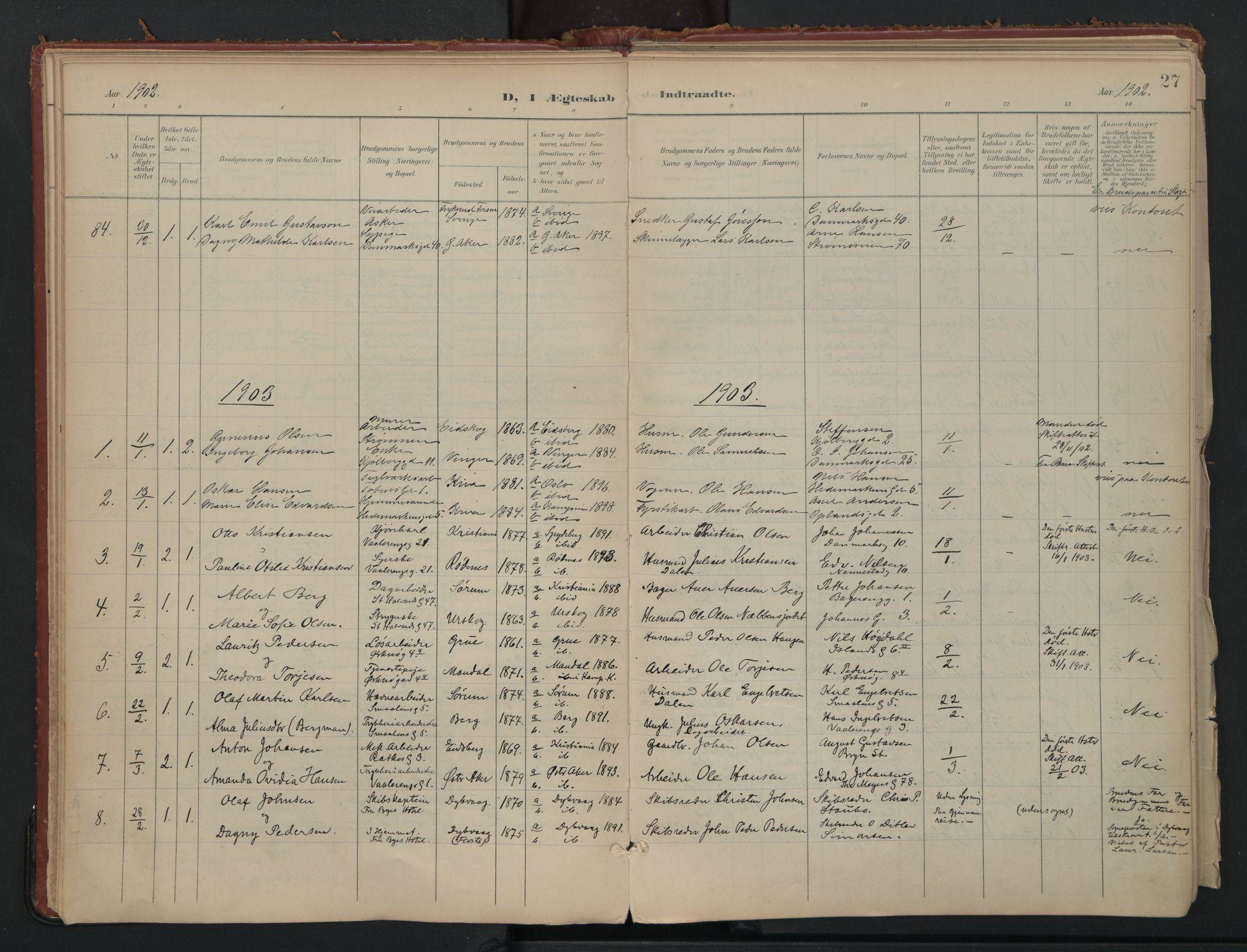 SAO, Vålerengen prestekontor Kirkebøker, F/Fa/L0002: Ministerialbok nr. 2, 1899-1924, s. 27