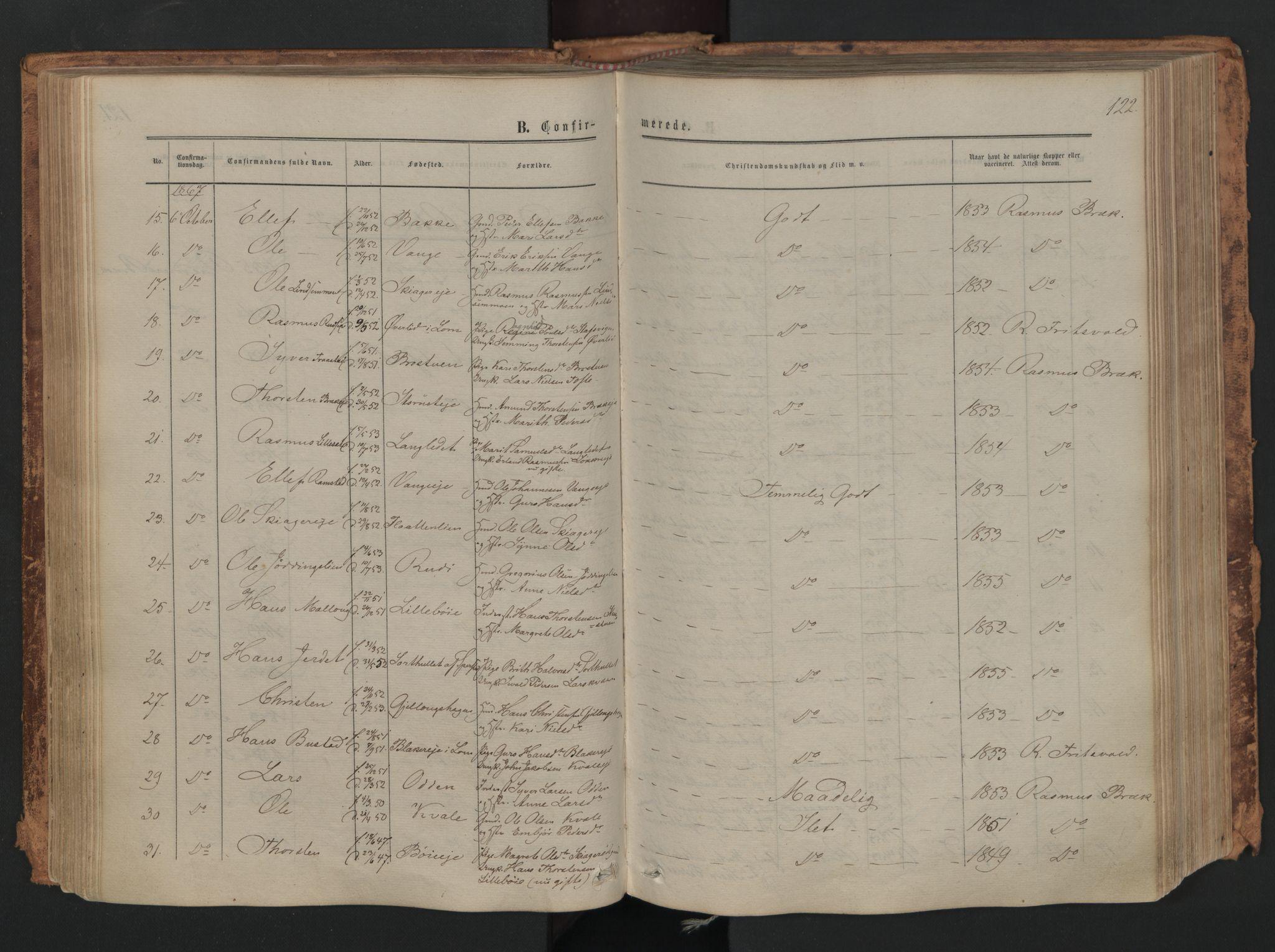 SAH, Skjåk prestekontor, Ministerialbok nr. 1, 1863-1879, s. 122