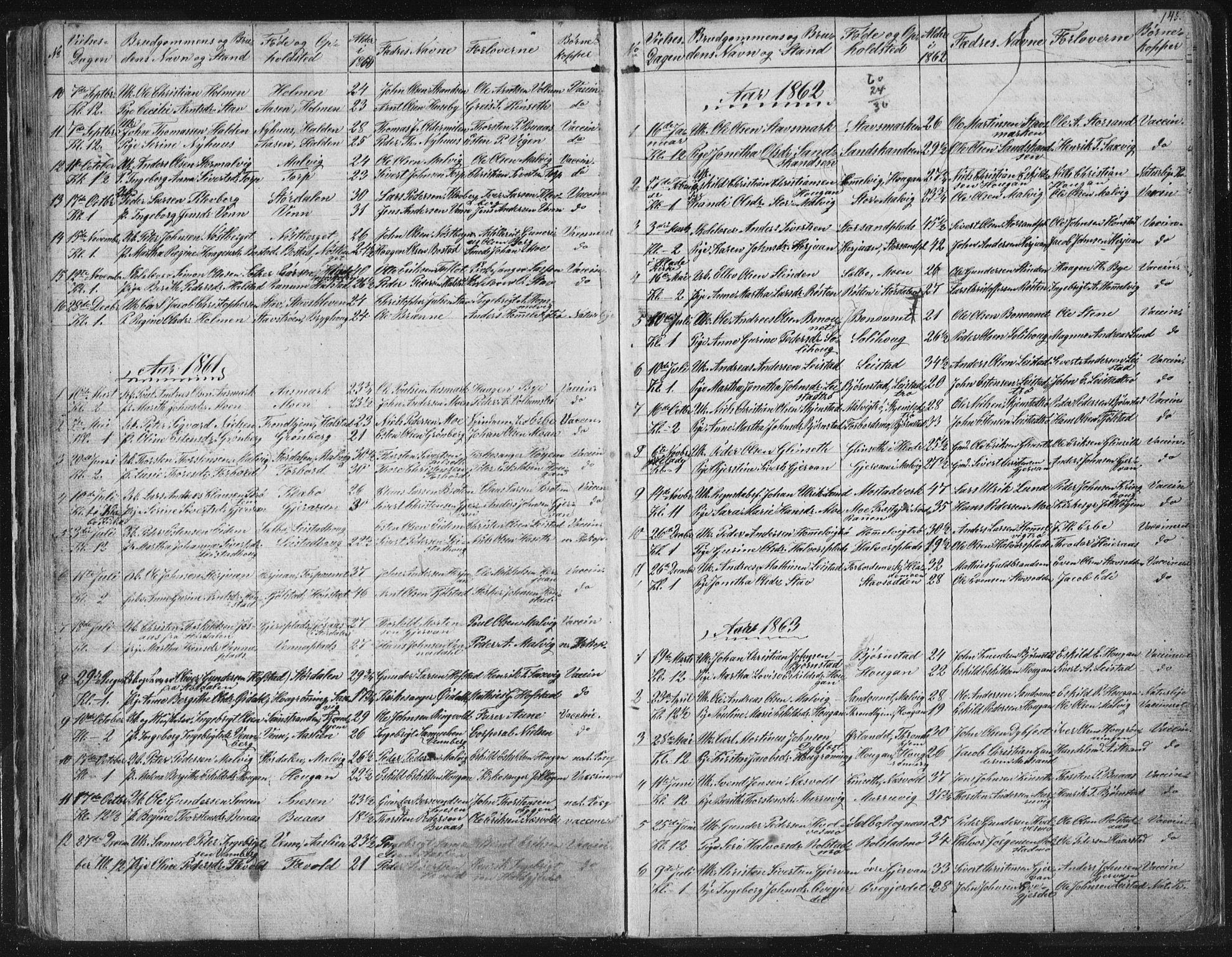 SAT, Ministerialprotokoller, klokkerbøker og fødselsregistre - Sør-Trøndelag, 616/L0406: Ministerialbok nr. 616A03, 1843-1879, s. 145