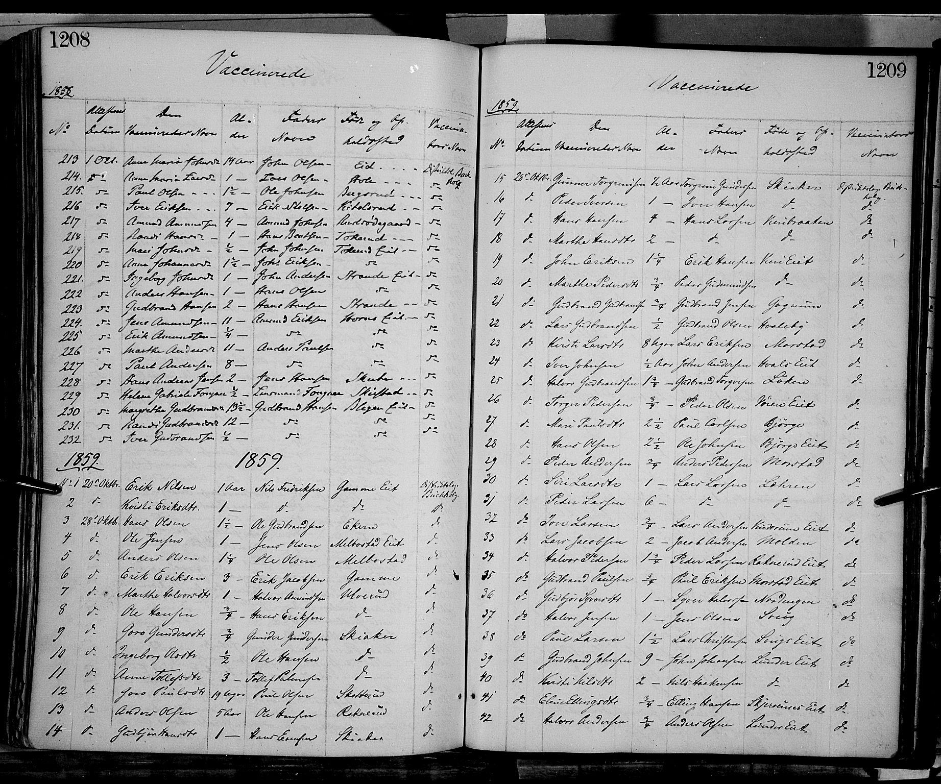 SAH, Gran prestekontor, Ministerialbok nr. 12, 1856-1874, s. 1208-1209