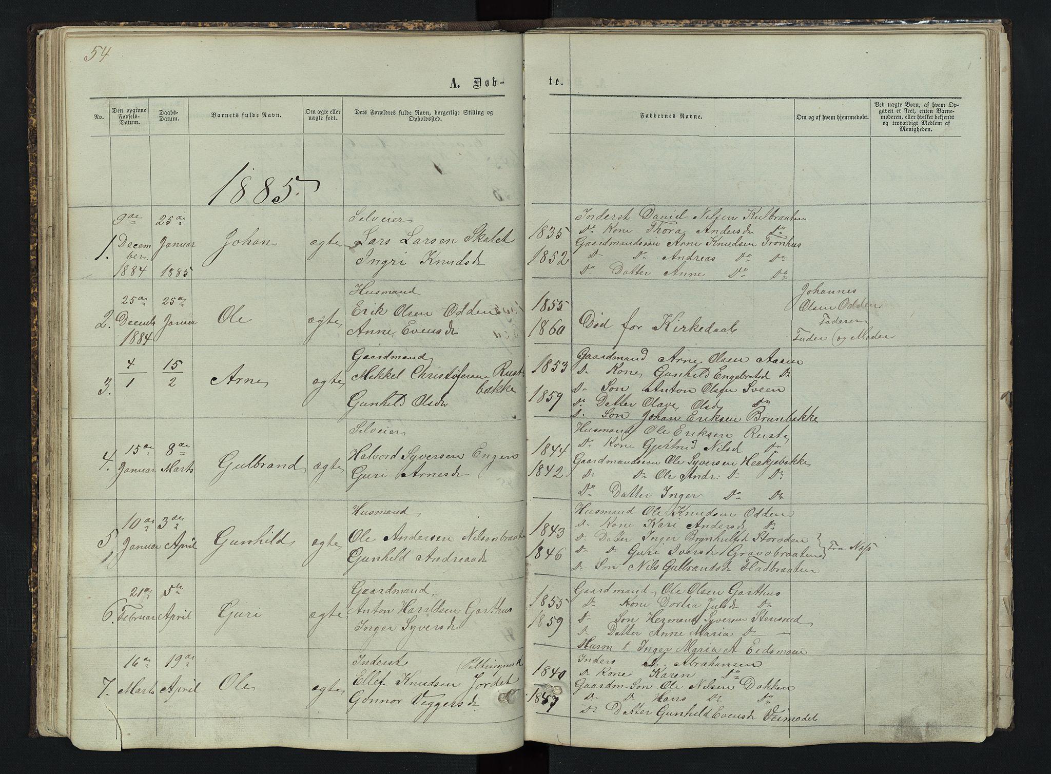 SAH, Sør-Aurdal prestekontor, Klokkerbok nr. 3, 1862-1893, s. 54