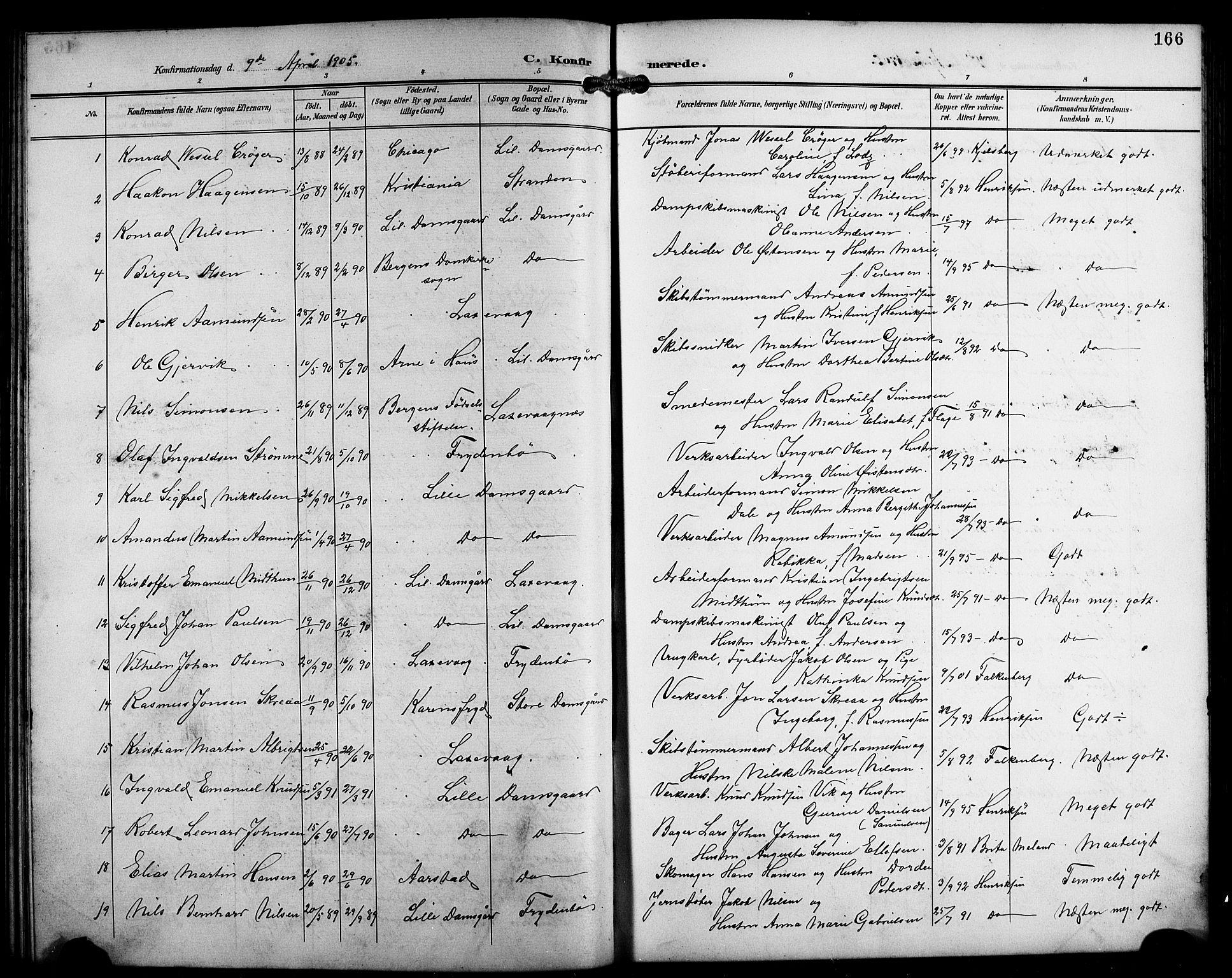 SAB, Laksevåg Sokneprestembete, H/Ha/Hab/Haba/L0004: Klokkerbok nr. A 4, 1899-1909, s. 166