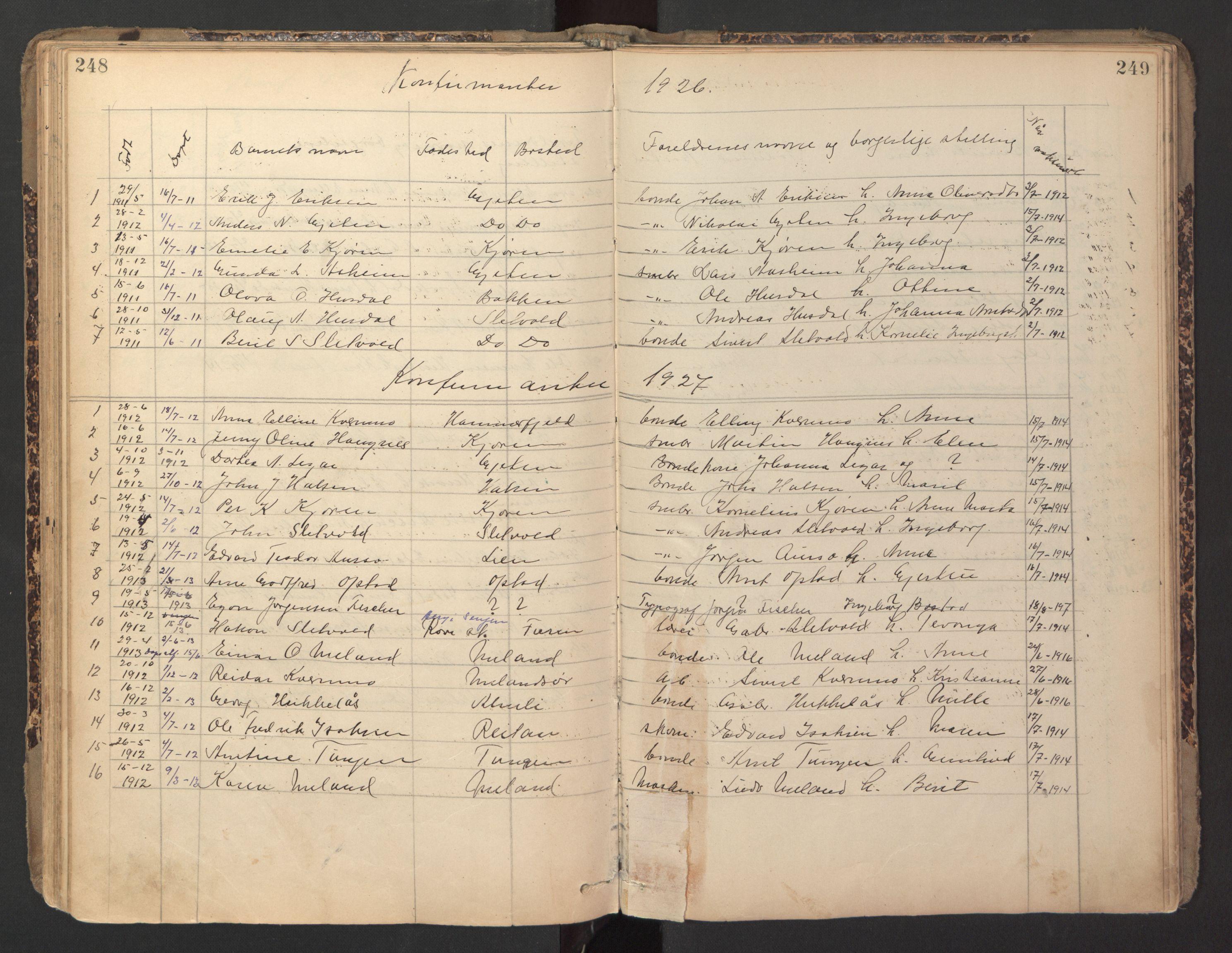 SAT, Ministerialprotokoller, klokkerbøker og fødselsregistre - Sør-Trøndelag, 670/L0837: Klokkerbok nr. 670C01, 1905-1946, s. 248-249