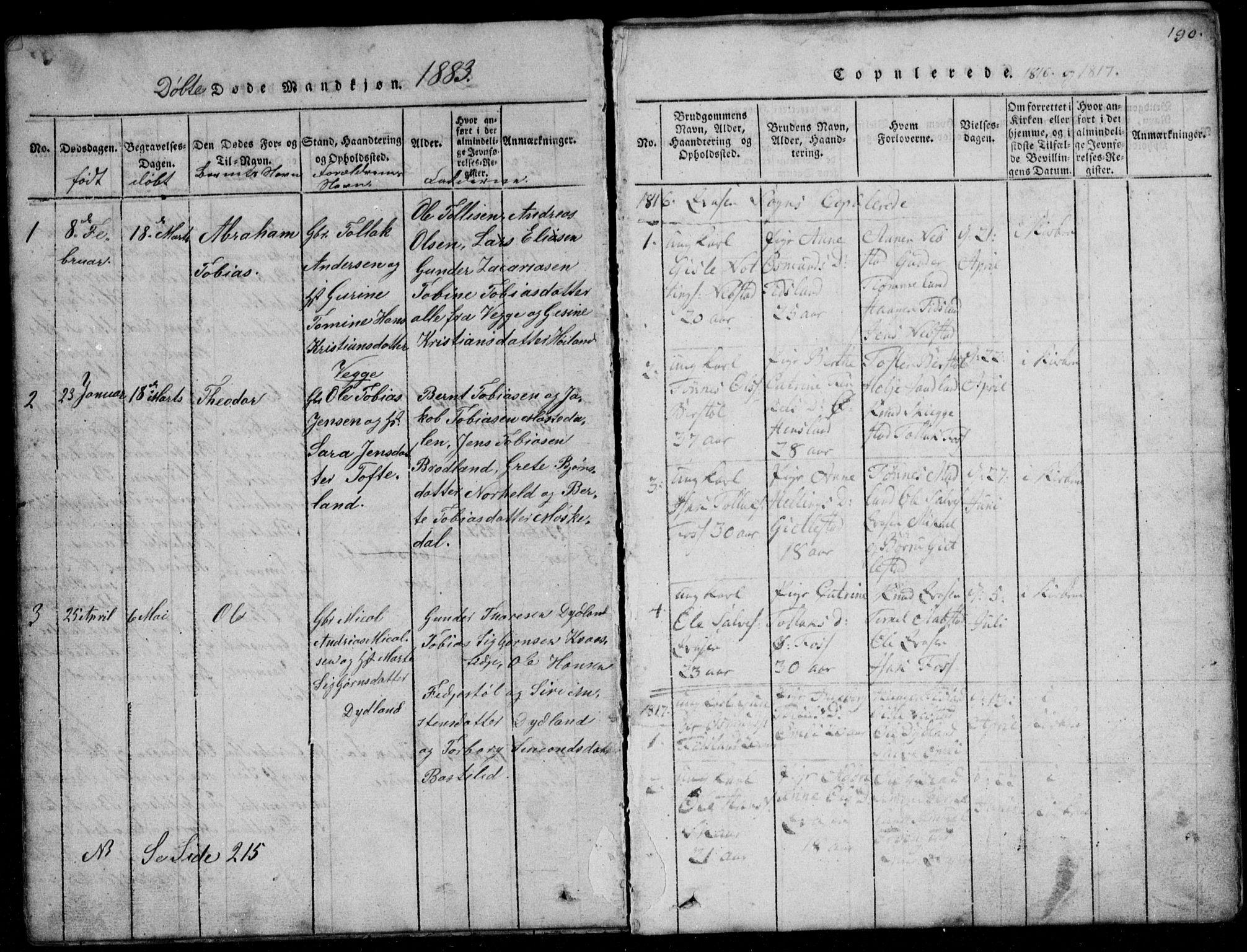 SAK, Lyngdal sokneprestkontor, F/Fb/Fbb/L0001: Klokkerbok nr. B 1, 1816-1900, s. 190