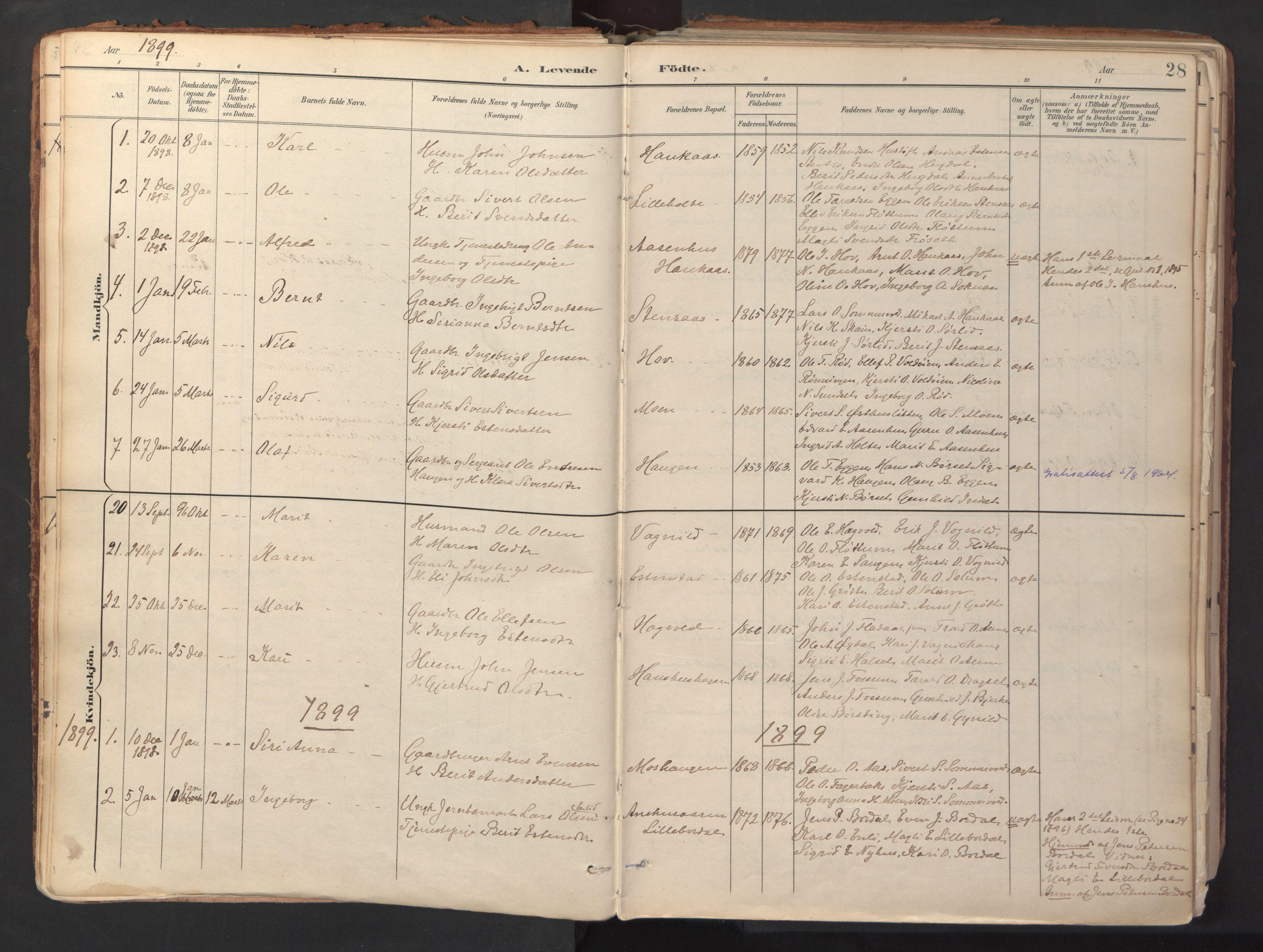 SAT, Ministerialprotokoller, klokkerbøker og fødselsregistre - Sør-Trøndelag, 689/L1041: Ministerialbok nr. 689A06, 1891-1923, s. 28