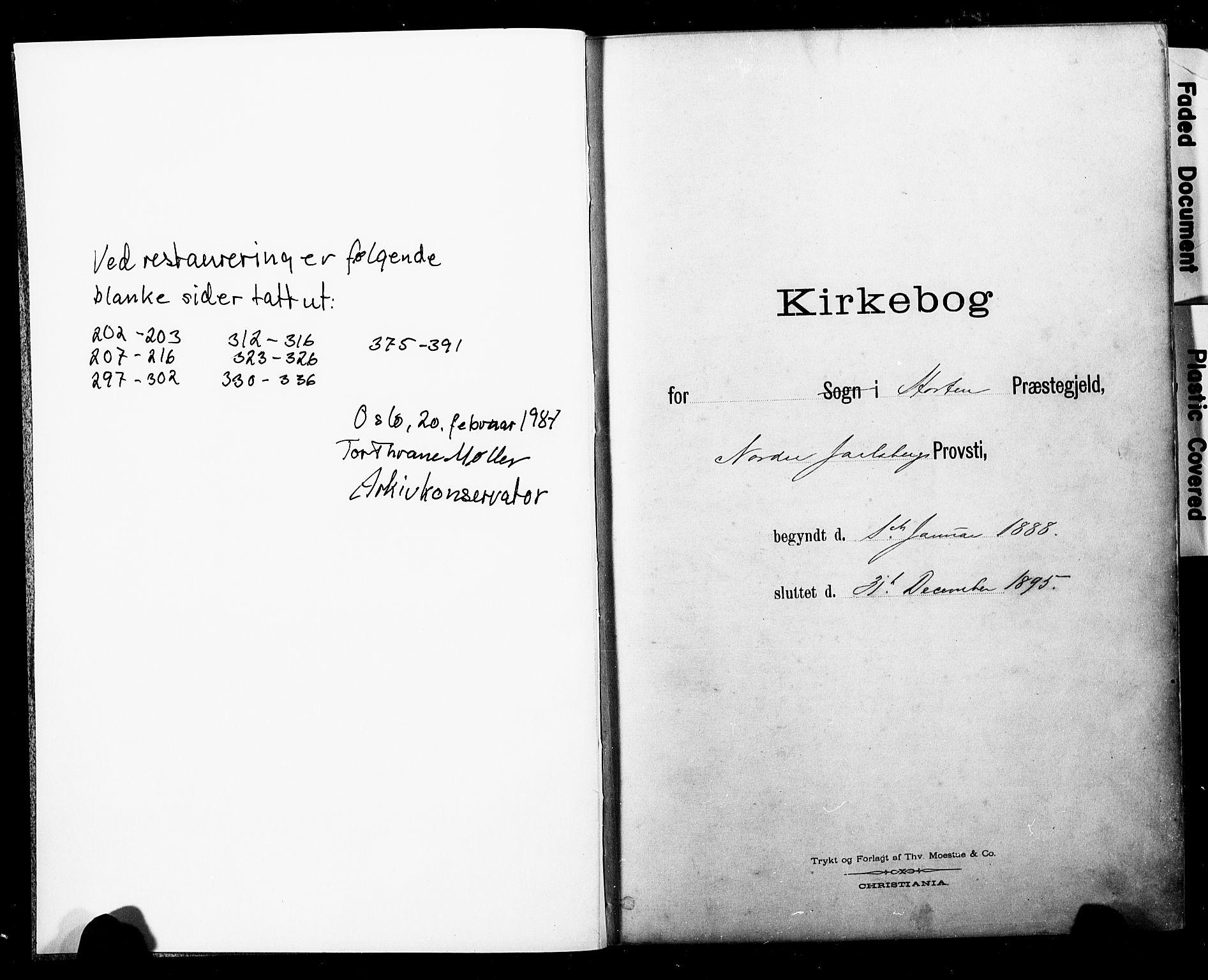 SAKO, Horten kirkebøker, F/Fa/L0004: Ministerialbok nr. 4, 1888-1895