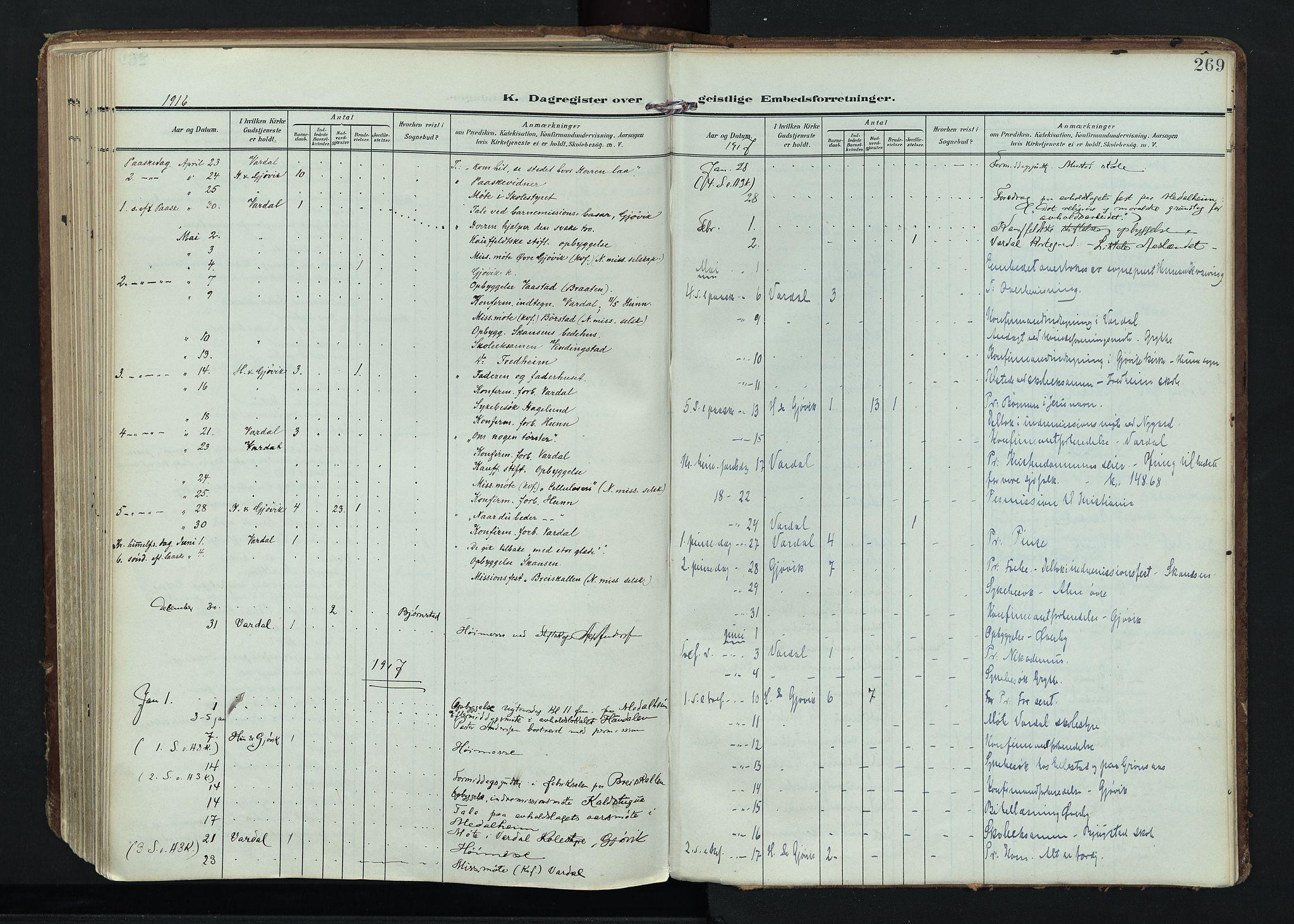 SAH, Vardal prestekontor, H/Ha/Haa/L0020: Ministerialbok nr. 20, 1907-1921, s. 269