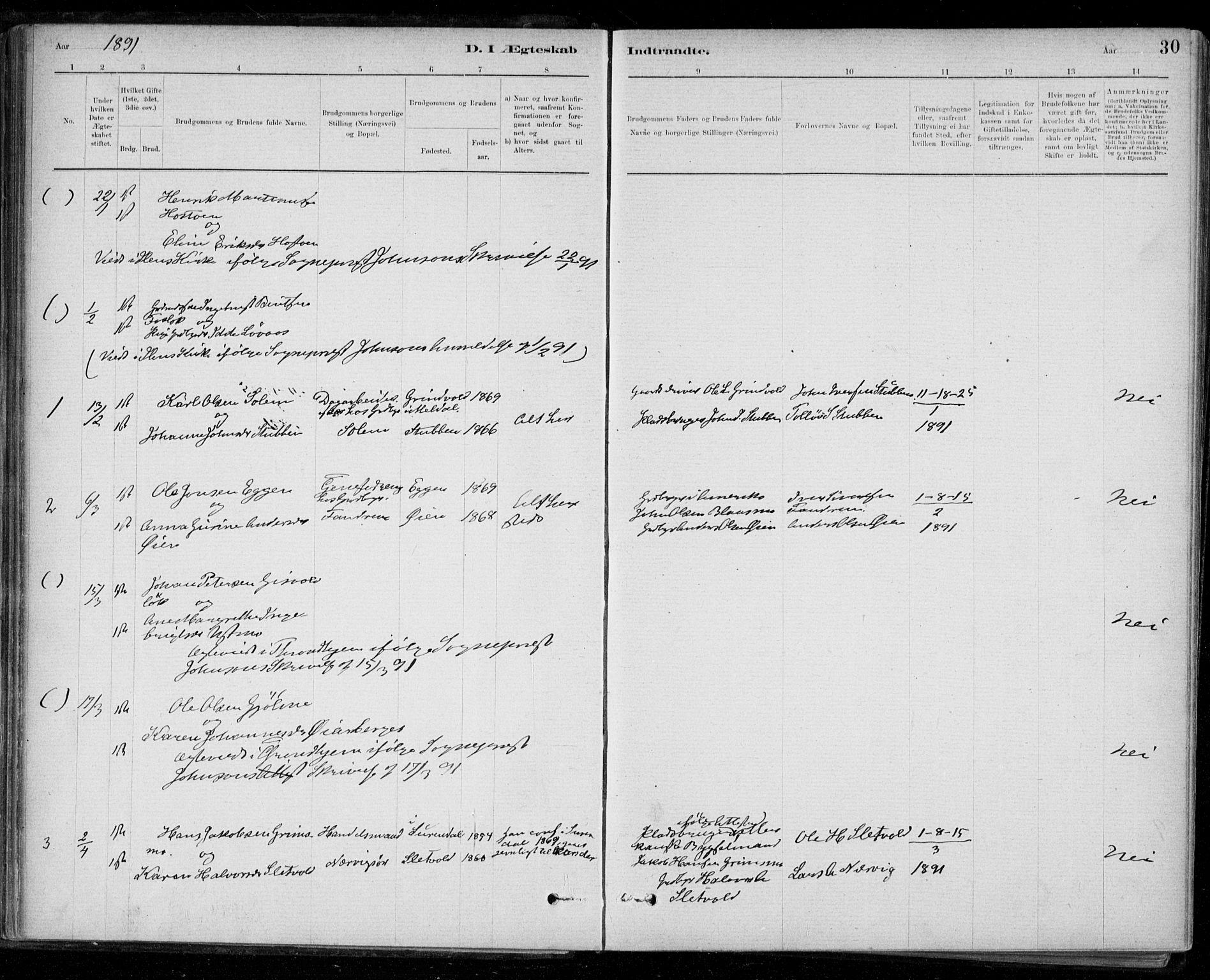 SAT, Ministerialprotokoller, klokkerbøker og fødselsregistre - Sør-Trøndelag, 668/L0810: Ministerialbok nr. 668A10, 1881-1894, s. 30