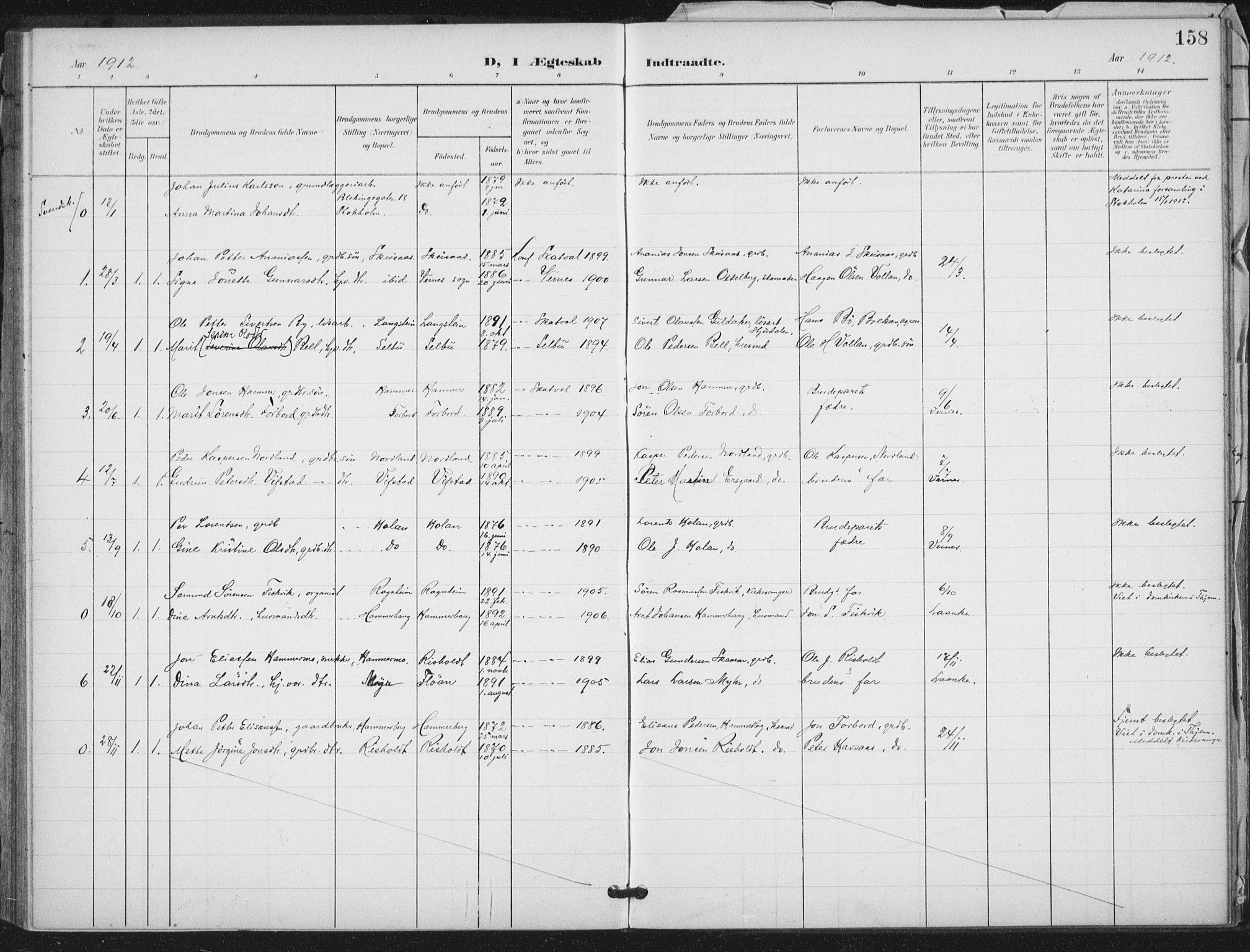 SAT, Ministerialprotokoller, klokkerbøker og fødselsregistre - Nord-Trøndelag, 712/L0101: Ministerialbok nr. 712A02, 1901-1916, s. 158