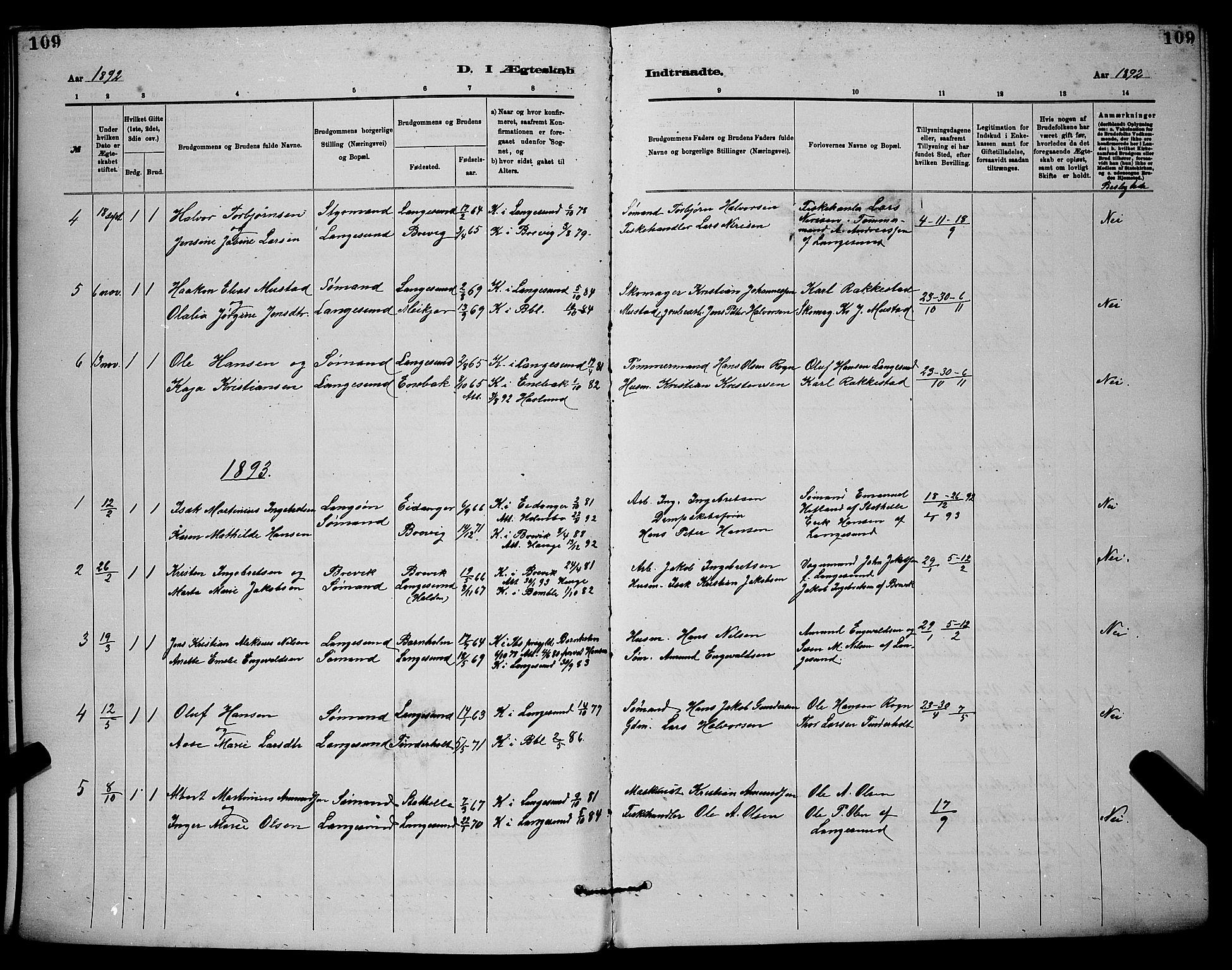 SAKO, Langesund kirkebøker, G/Ga/L0005: Klokkerbok nr. 5, 1884-1898, s. 109