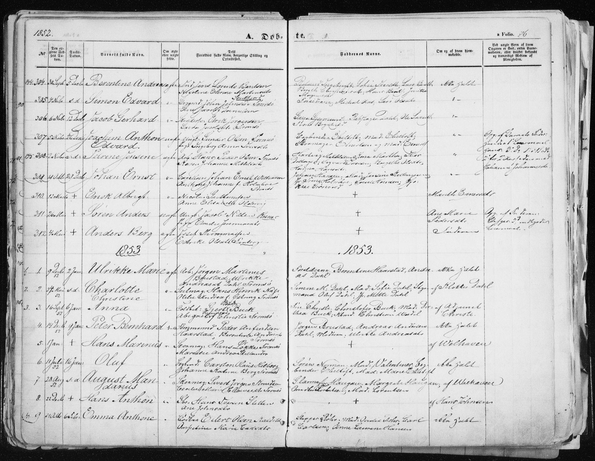 SATØ, Tromsø sokneprestkontor/stiftsprosti/domprosti, G/Ga/L0010kirke: Ministerialbok nr. 10, 1848-1855, s. 76