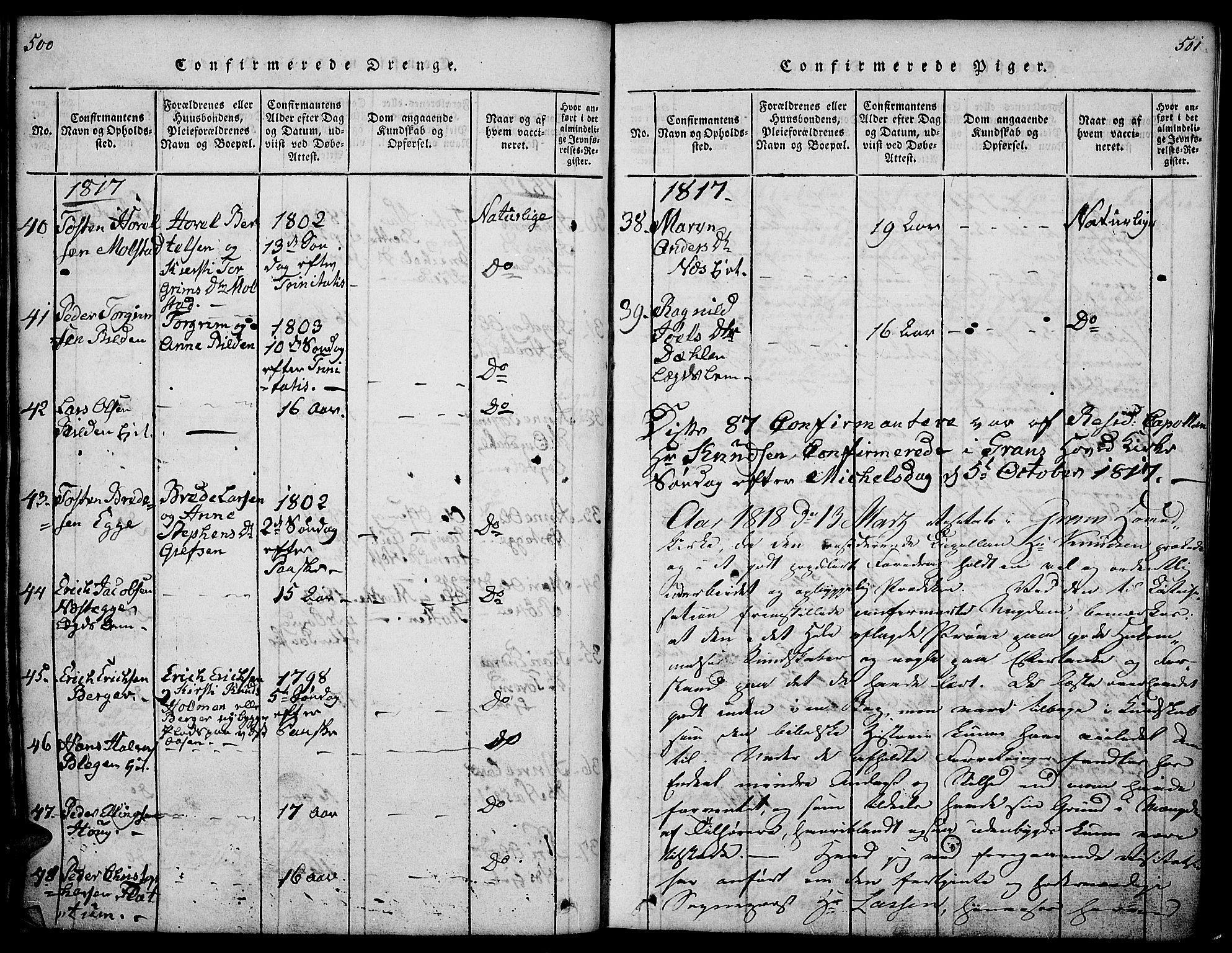 SAH, Gran prestekontor, Ministerialbok nr. 9, 1815-1824, s. 500-501