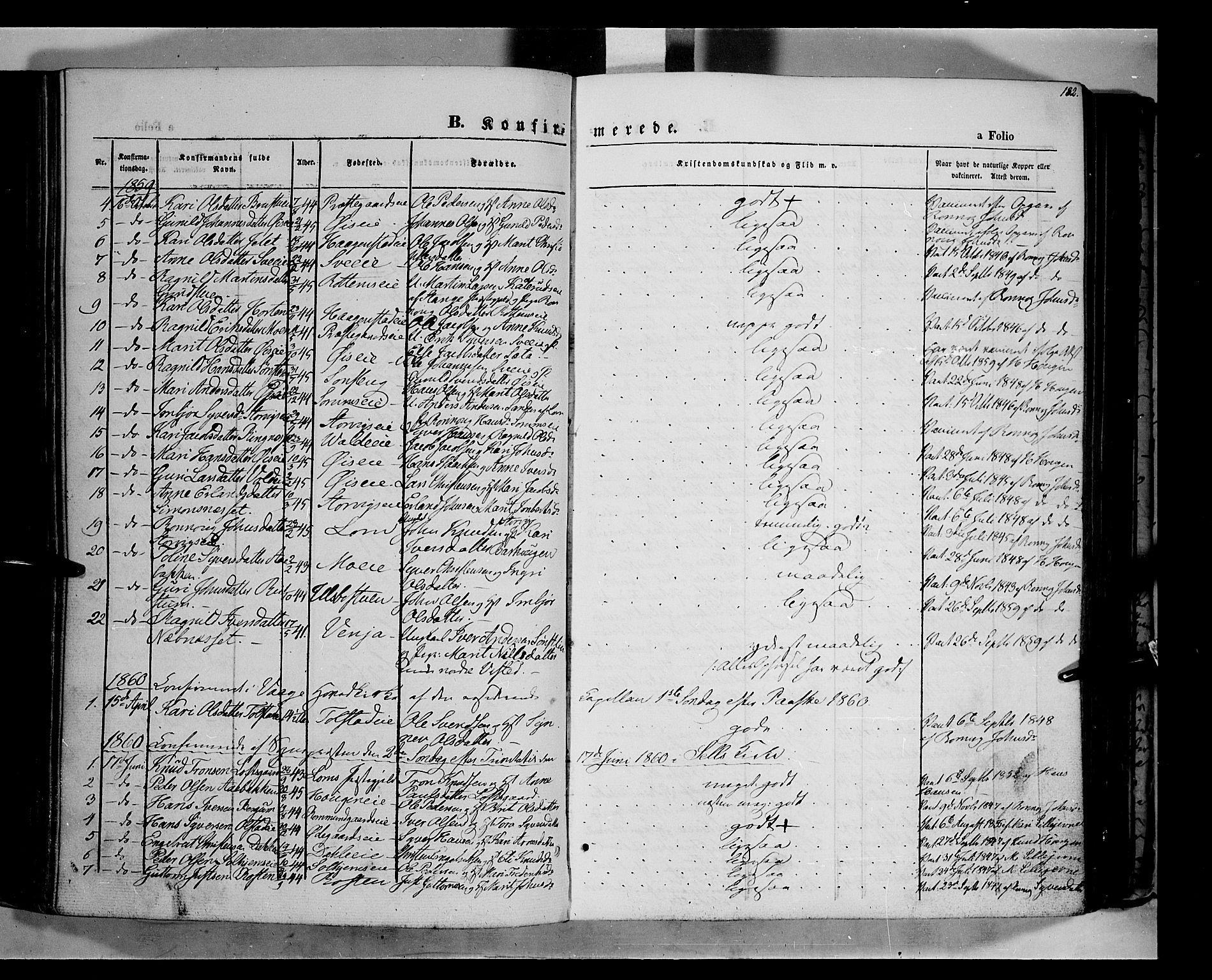 SAH, Vågå prestekontor, Ministerialbok nr. 6 /1, 1856-1872, s. 182