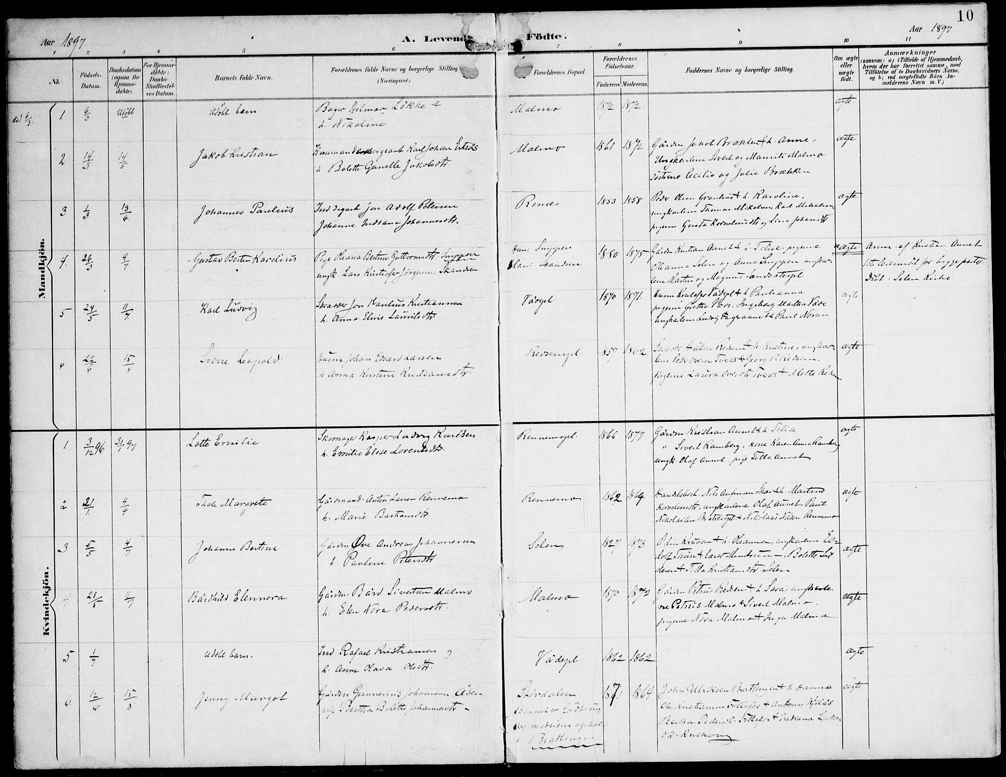 SAT, Ministerialprotokoller, klokkerbøker og fødselsregistre - Nord-Trøndelag, 745/L0430: Ministerialbok nr. 745A02, 1895-1913, s. 10