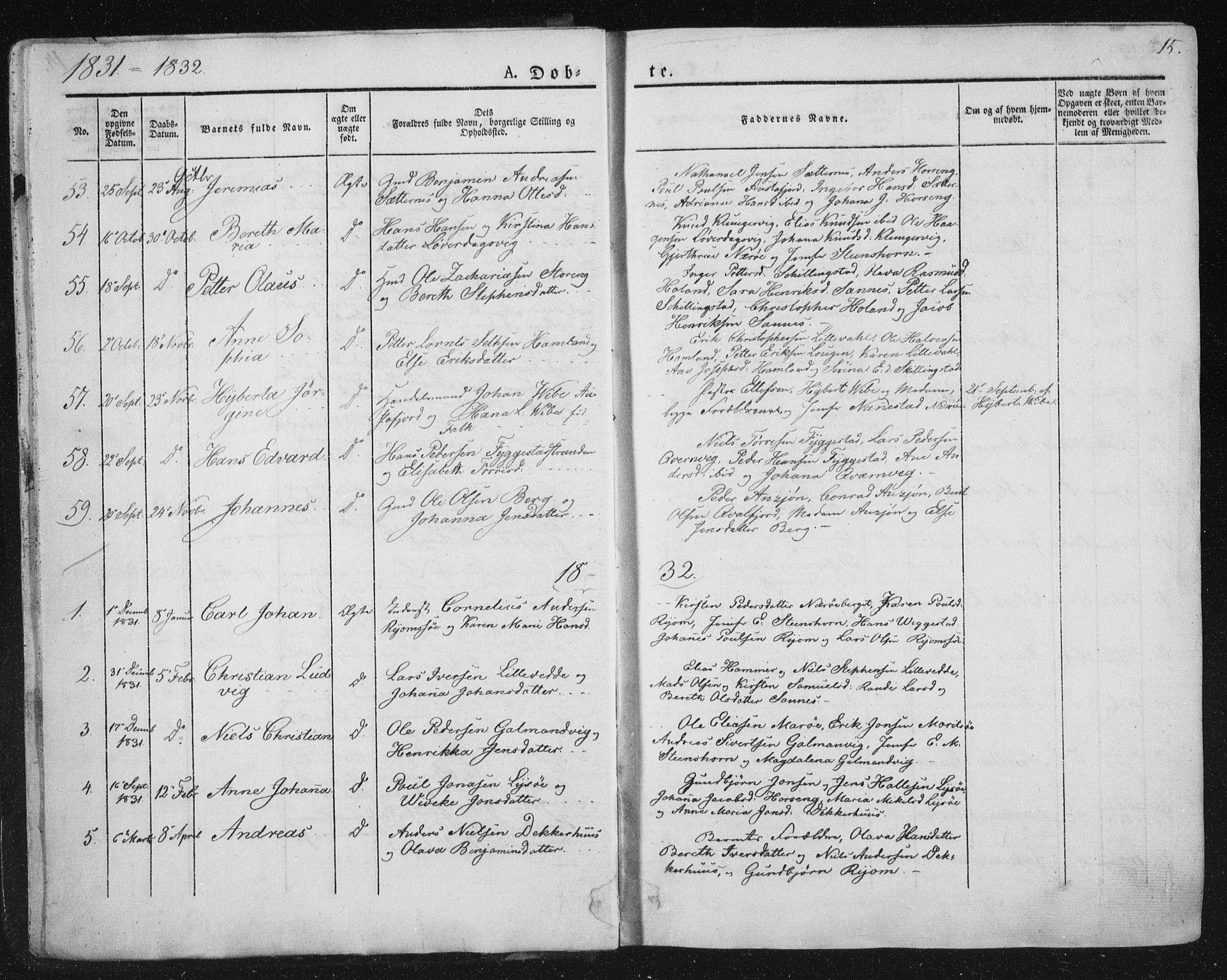 SAT, Ministerialprotokoller, klokkerbøker og fødselsregistre - Nord-Trøndelag, 784/L0669: Ministerialbok nr. 784A04, 1829-1859, s. 15