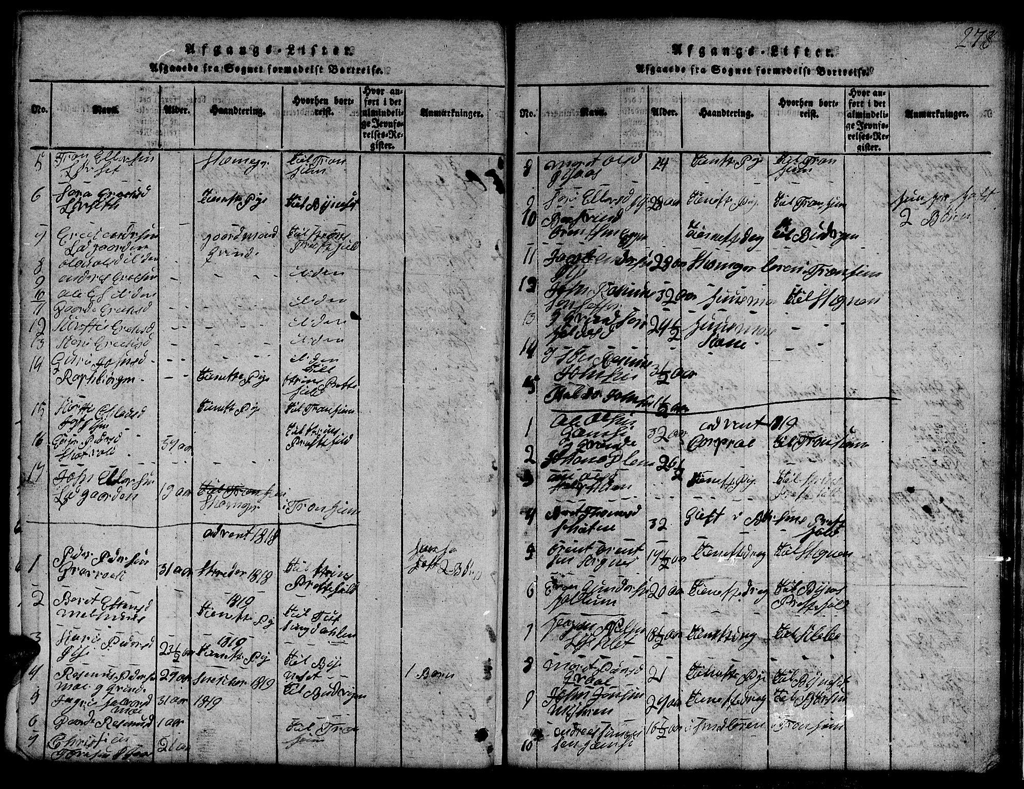 SAT, Ministerialprotokoller, klokkerbøker og fødselsregistre - Sør-Trøndelag, 691/L1092: Klokkerbok nr. 691C03, 1816-1852, s. 278