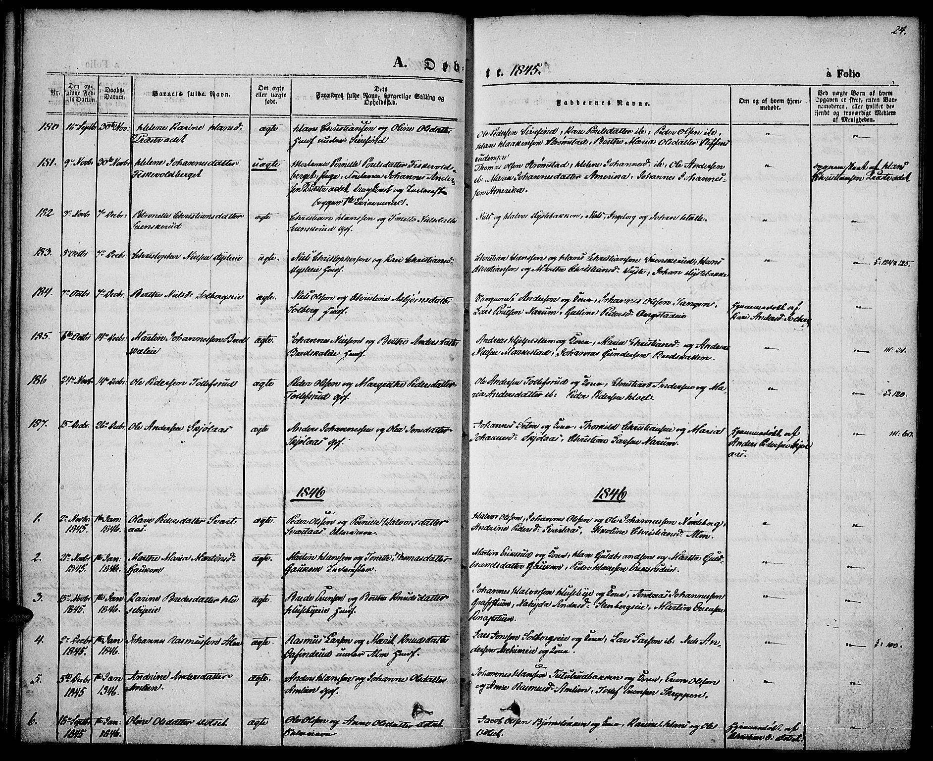 SAH, Vestre Toten prestekontor, H/Ha/Haa/L0004: Ministerialbok nr. 4, 1844-1849, s. 24