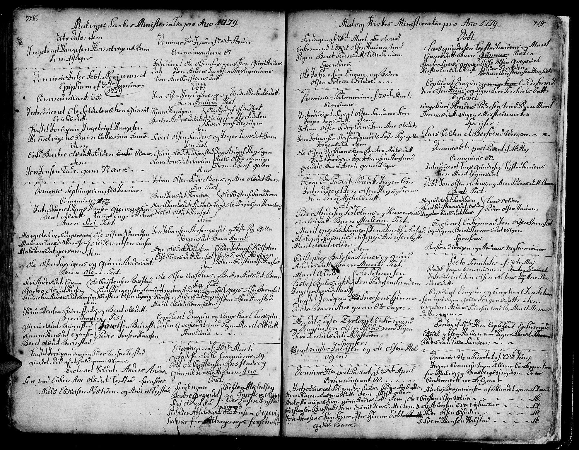 SAT, Ministerialprotokoller, klokkerbøker og fødselsregistre - Sør-Trøndelag, 606/L0277: Ministerialbok nr. 606A01 /3, 1727-1780, s. 718-719