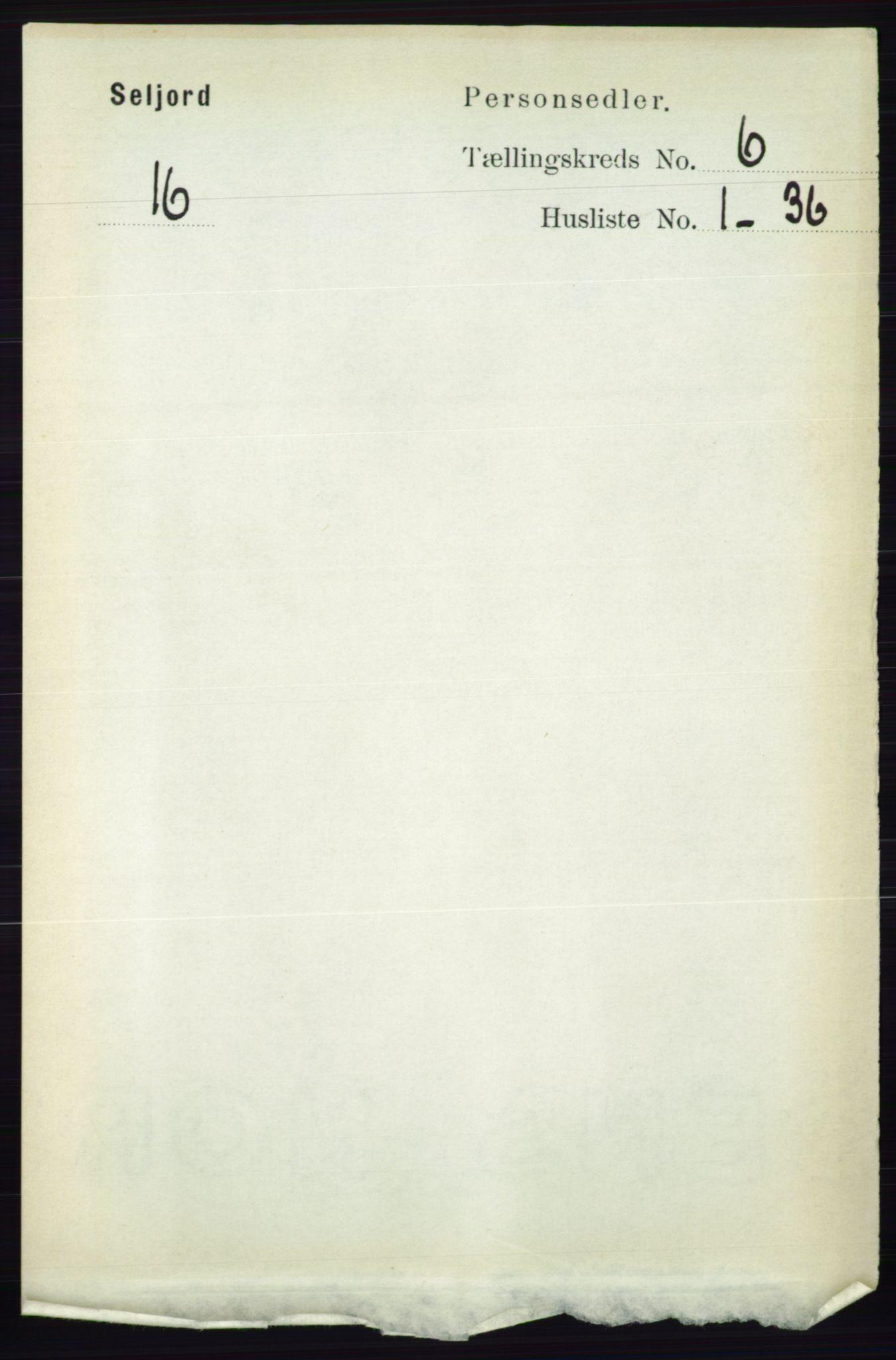 RA, Folketelling 1891 for 0828 Seljord herred, 1891, s. 2207