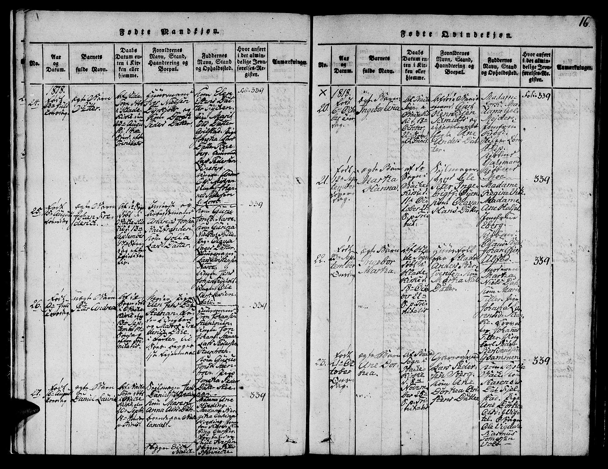 SAT, Ministerialprotokoller, klokkerbøker og fødselsregistre - Sør-Trøndelag, 606/L0307: Klokkerbok nr. 606C03, 1817-1824, s. 16