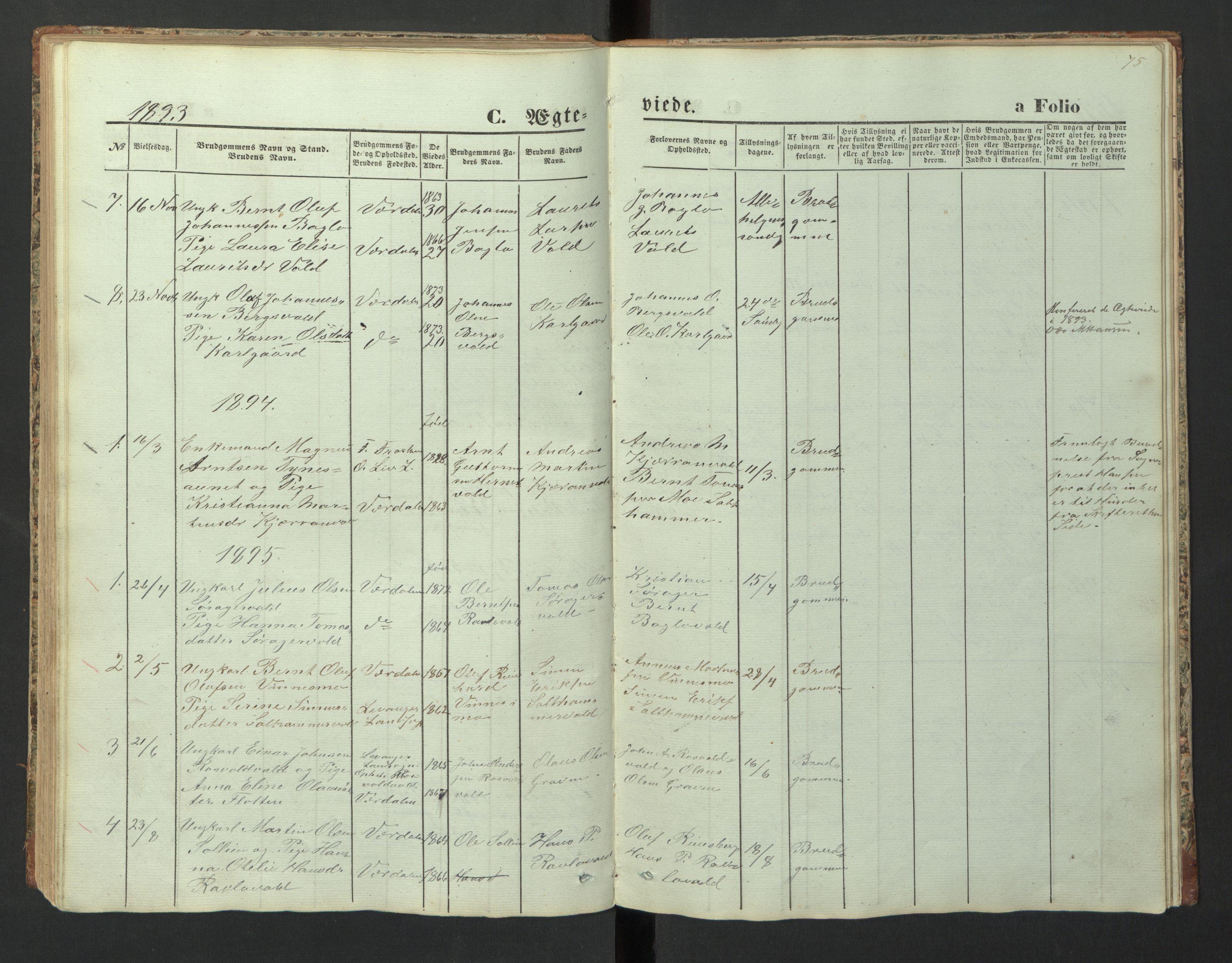 SAT, Ministerialprotokoller, klokkerbøker og fødselsregistre - Nord-Trøndelag, 726/L0271: Klokkerbok nr. 726C02, 1869-1897, s. 75