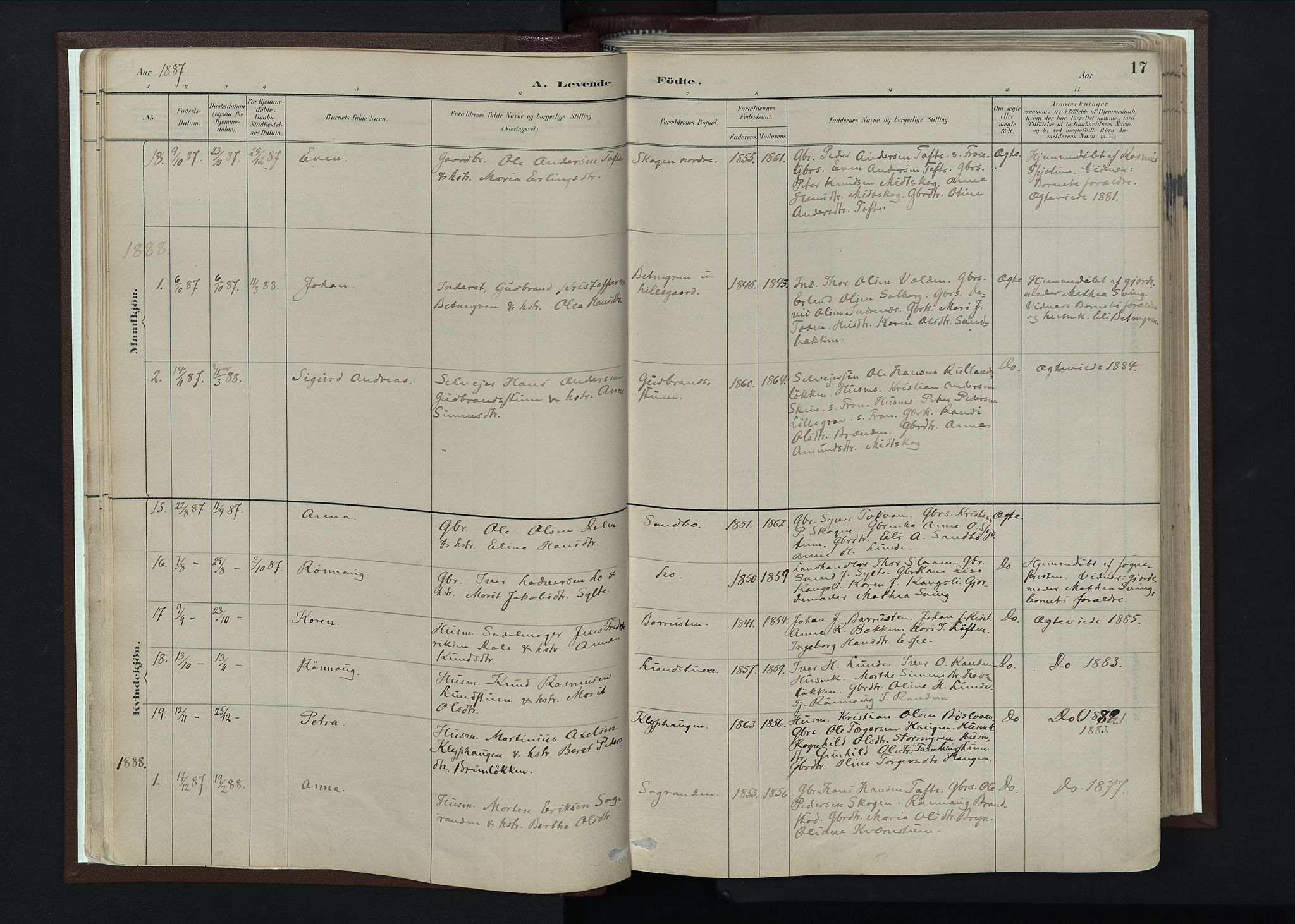 SAH, Nord-Fron prestekontor, Ministerialbok nr. 4, 1884-1914, s. 17