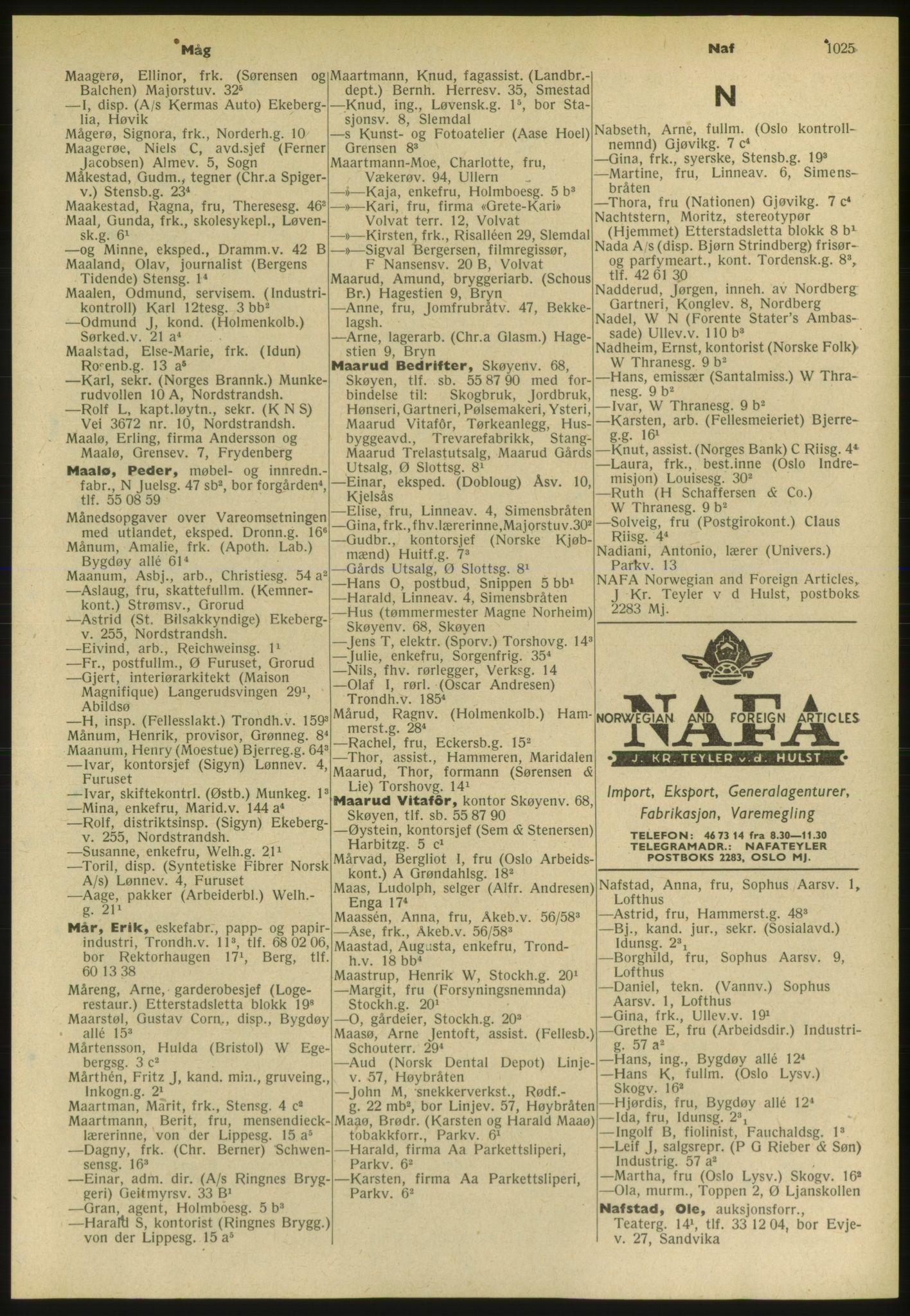 PUBL, Kristiania/Oslo adressebok, 1952, s. 1025