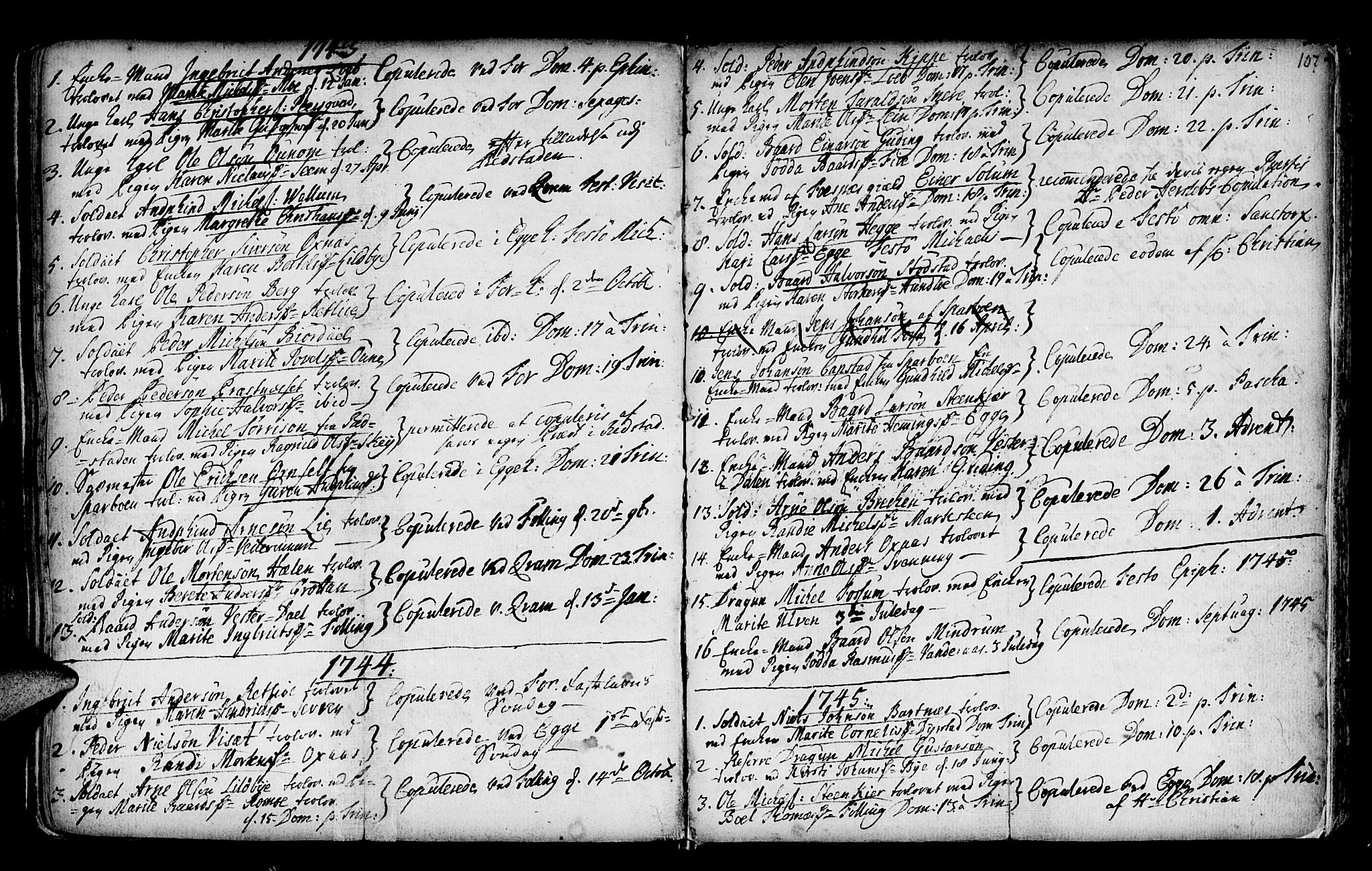 SAT, Ministerialprotokoller, klokkerbøker og fødselsregistre - Nord-Trøndelag, 746/L0439: Ministerialbok nr. 746A01, 1688-1759, s. 107