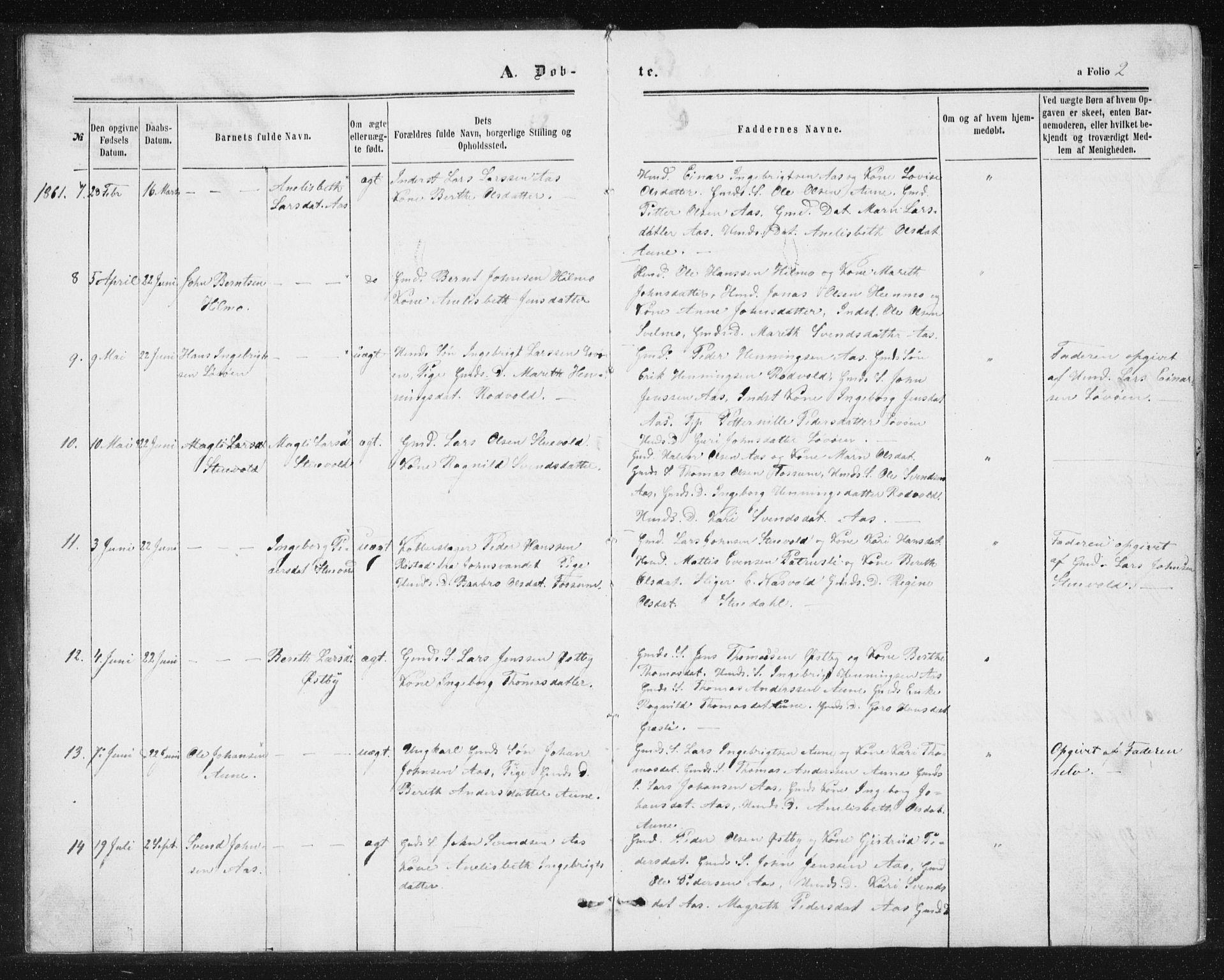 SAT, Ministerialprotokoller, klokkerbøker og fødselsregistre - Sør-Trøndelag, 698/L1166: Klokkerbok nr. 698C03, 1861-1887, s. 2