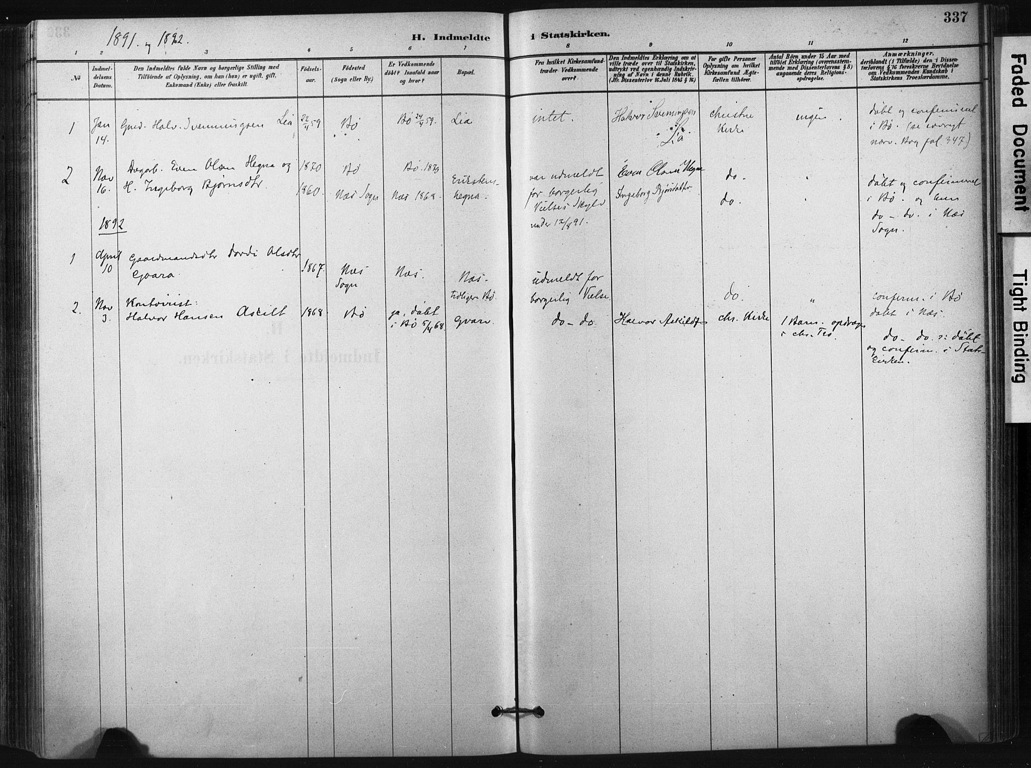 SAKO, Bø kirkebøker, F/Fa/L0010: Ministerialbok nr. 10, 1880-1892, s. 337
