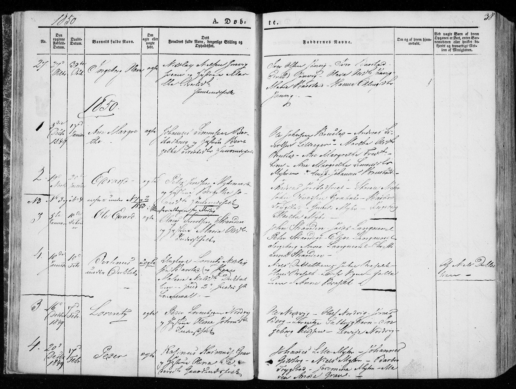 SAT, Ministerialprotokoller, klokkerbøker og fødselsregistre - Nord-Trøndelag, 722/L0218: Ministerialbok nr. 722A05, 1843-1868, s. 38