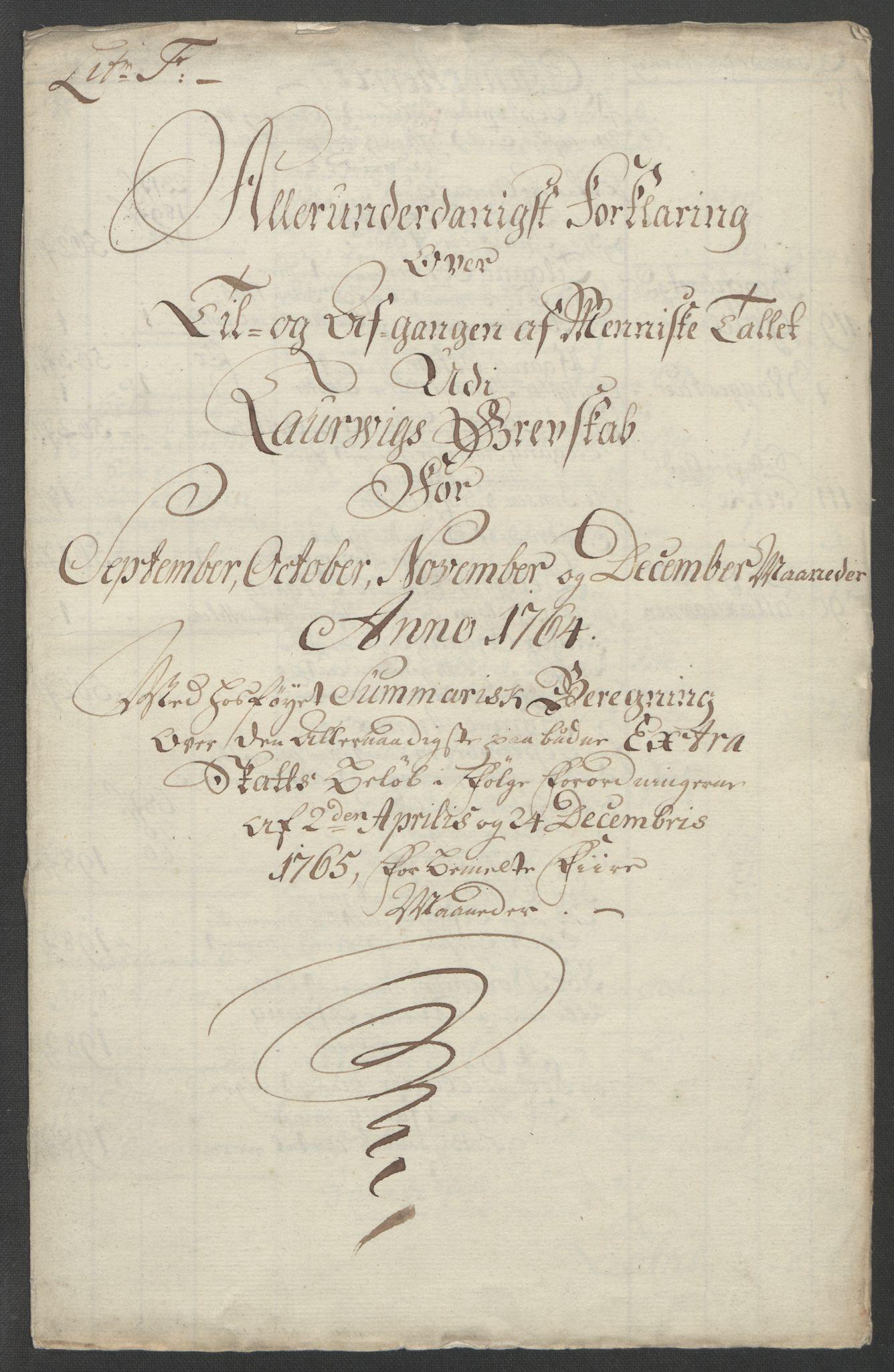 RA, Rentekammeret inntil 1814, Reviderte regnskaper, Fogderegnskap, R33/L2033: Ekstraskatten Larvik grevskap, 1762-1764, s. 568