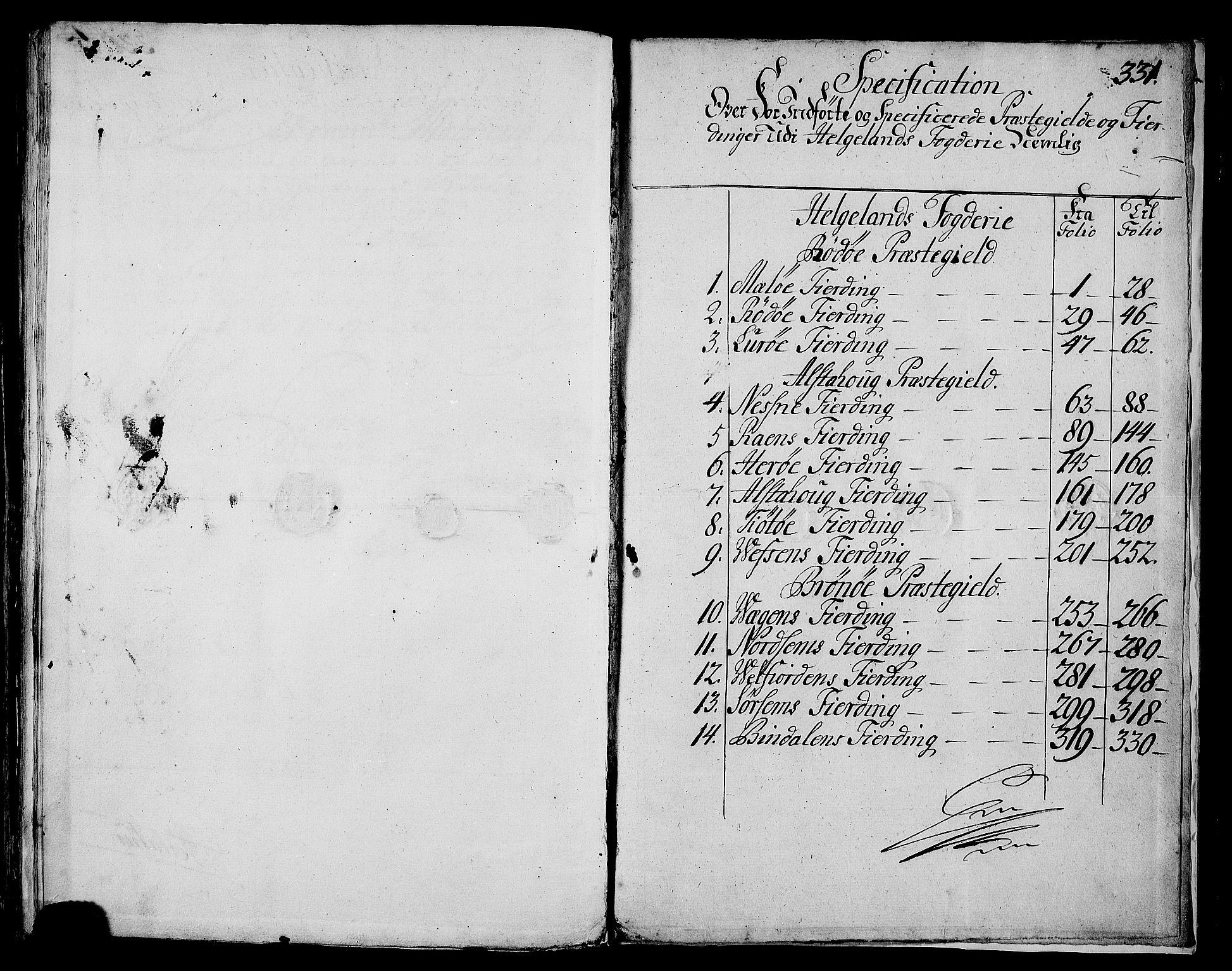 RA, Rentekammeret inntil 1814, Realistisk ordnet avdeling, N/Nb/Nbf/L0171: Helgeland matrikkelprotokoll, 1723, s. 330b-331a